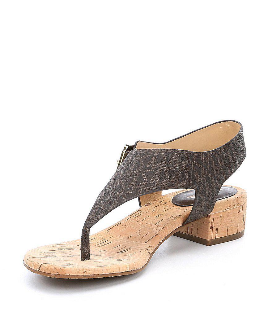 de5f10a6c395 Lyst - MICHAEL Michael Kors London Thong Block Heel Sandals in Brown