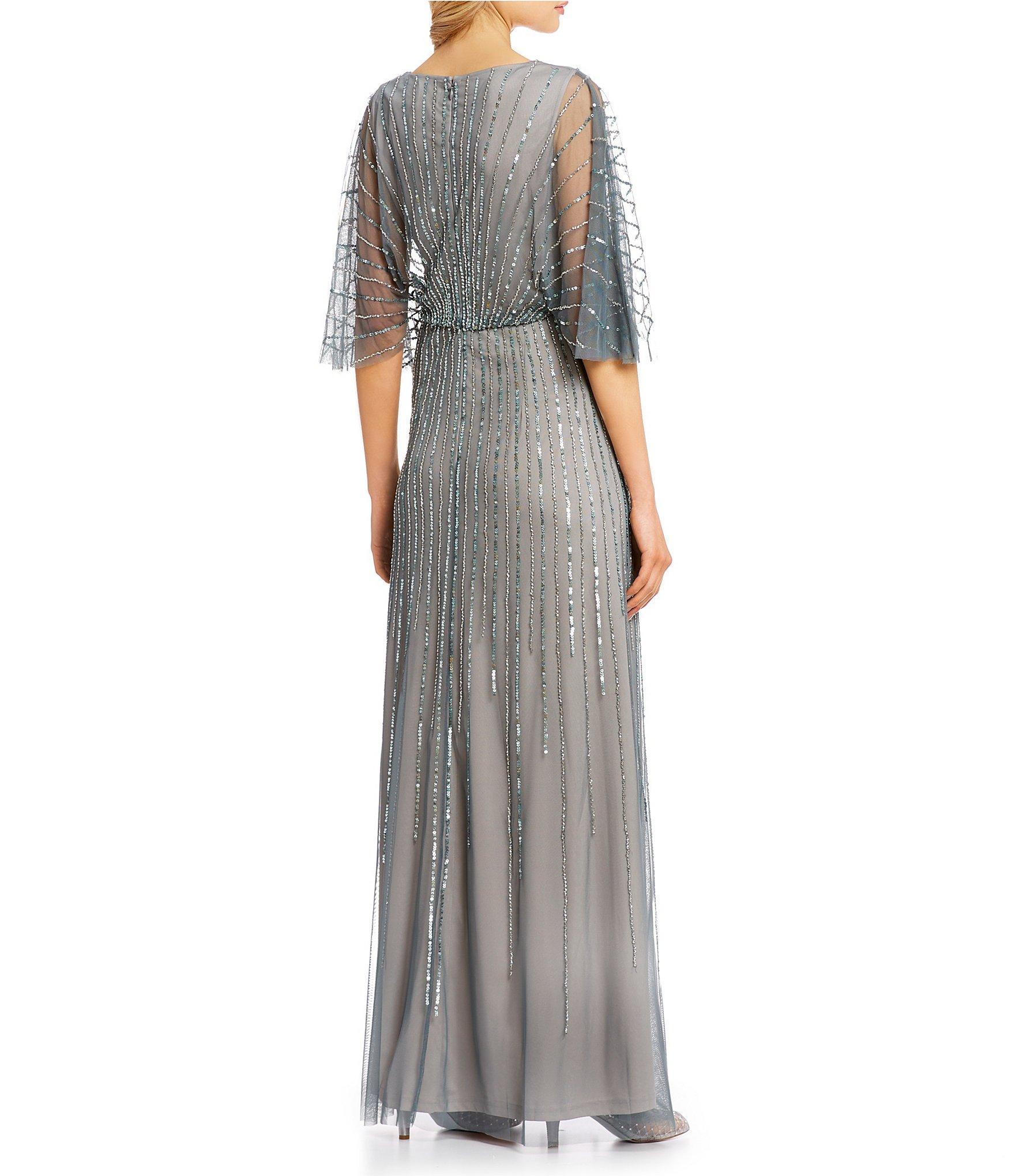 15650d639c97 Adrianna Papell - Metallic Adrianna V-neck Beaded Blouson Illusion 3/4  Sleeves Gown. View fullscreen