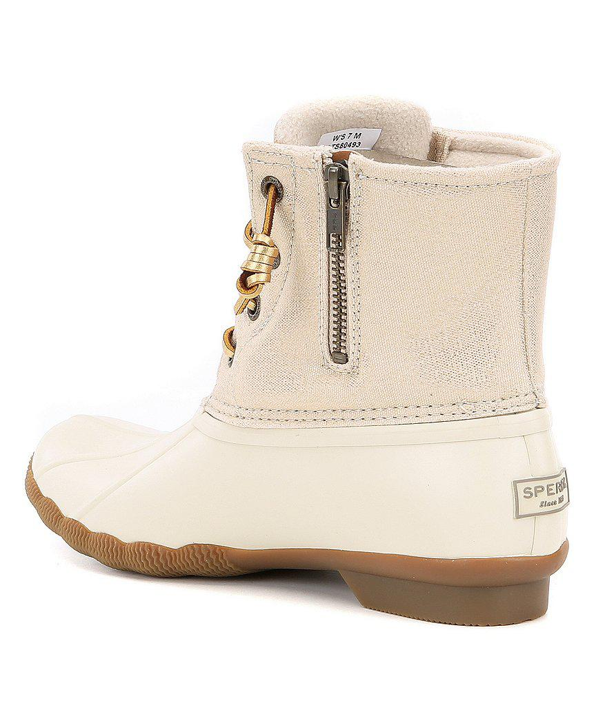 3885d309b136 Lyst - Sperry Top-Sider Women s Saltwater Sparkle Duck Boots in Natural