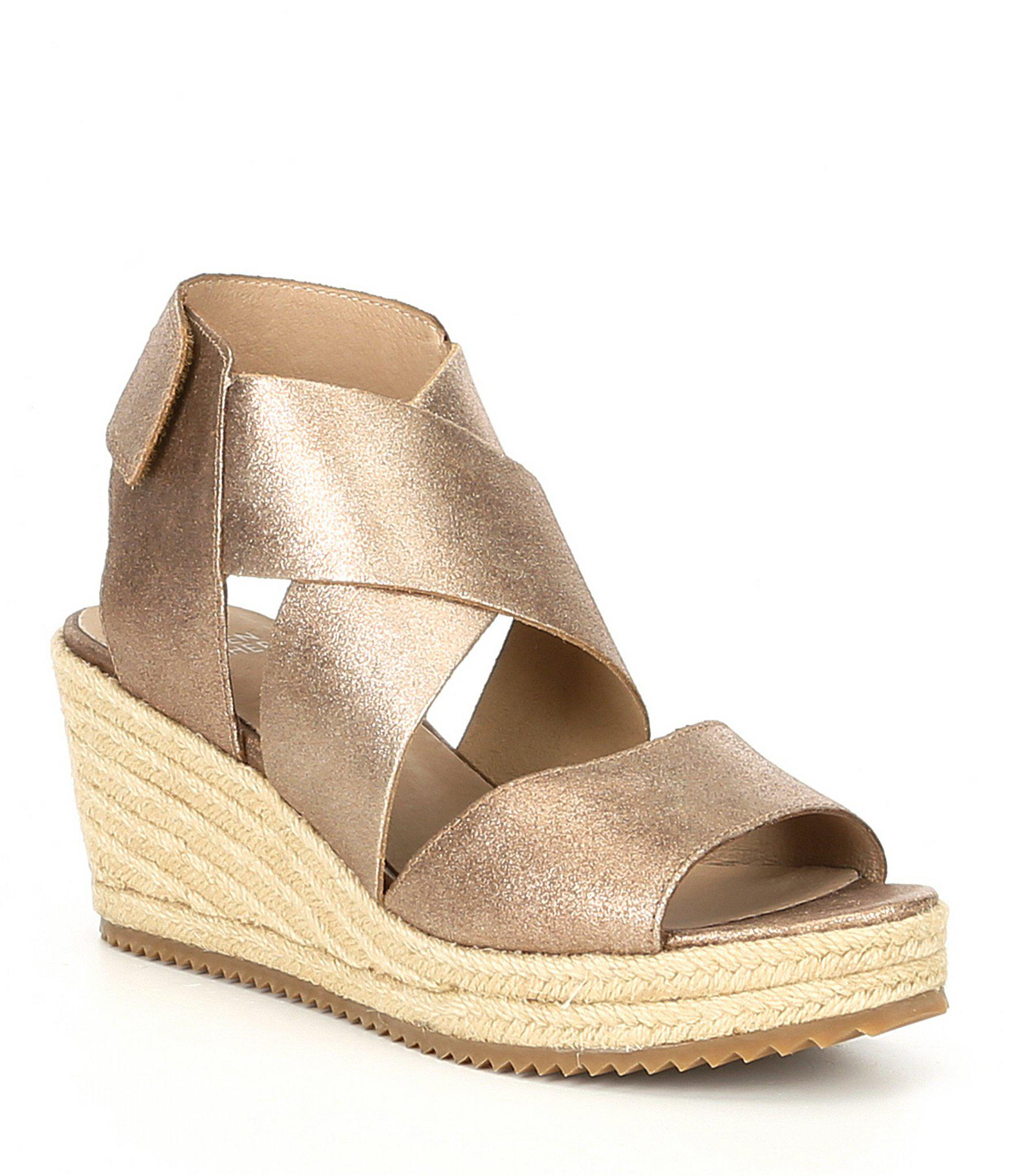 20644e3037f5 Lyst - Eileen Fisher Willow 3 Metallic Suede Wedge Espadrilles in ...