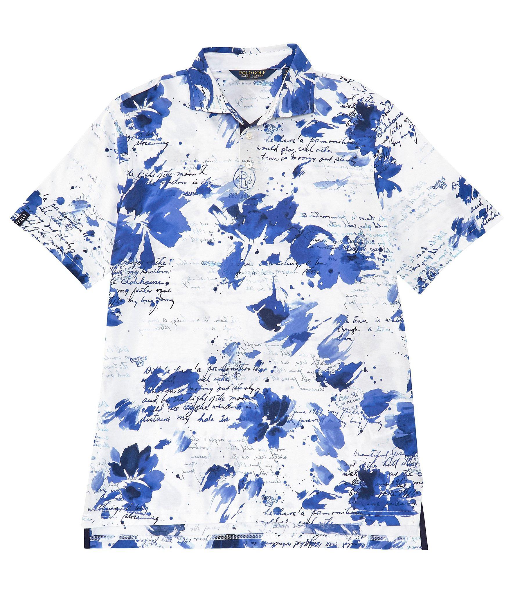 0681a608 Polo Ralph Lauren. Men's Blue Golf Diary Print Short-sleeve Polo Shirt
