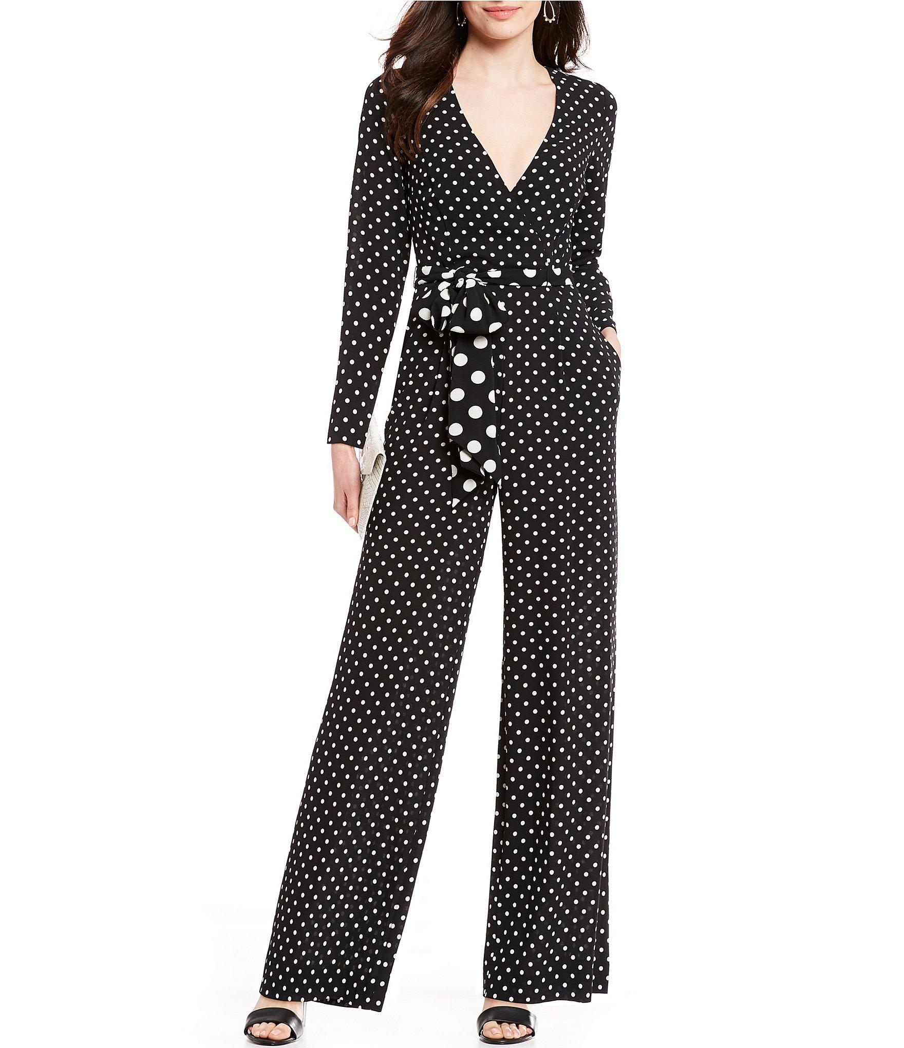 99aa212db3d4e Lyst - Eliza J Polka Dot V-neck Tie Waist Jumpsuit in Black