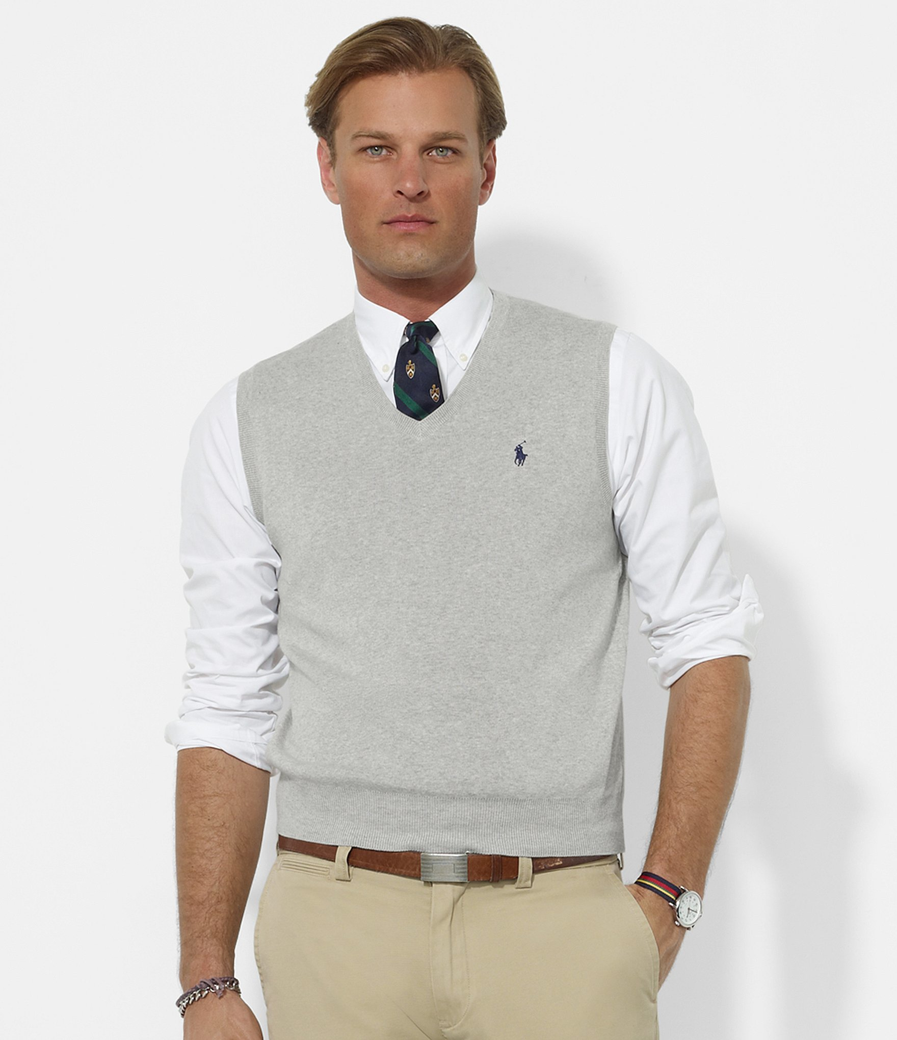 Polo ralph lauren Pima V-neck Sweater Vest in Gray for Men | Lyst