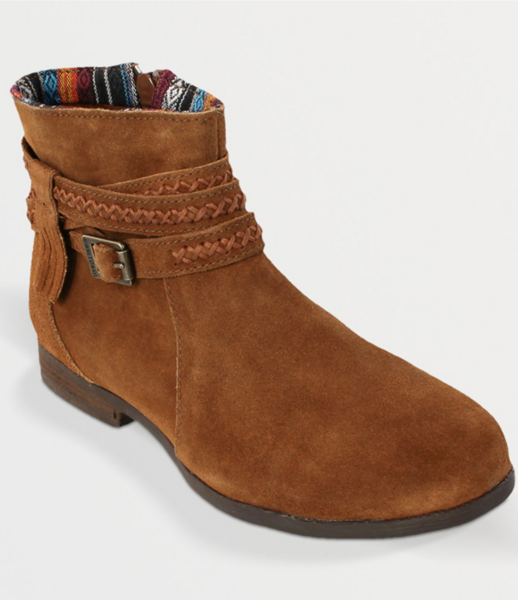 minnetonka dixon ankle boots in brown lyst