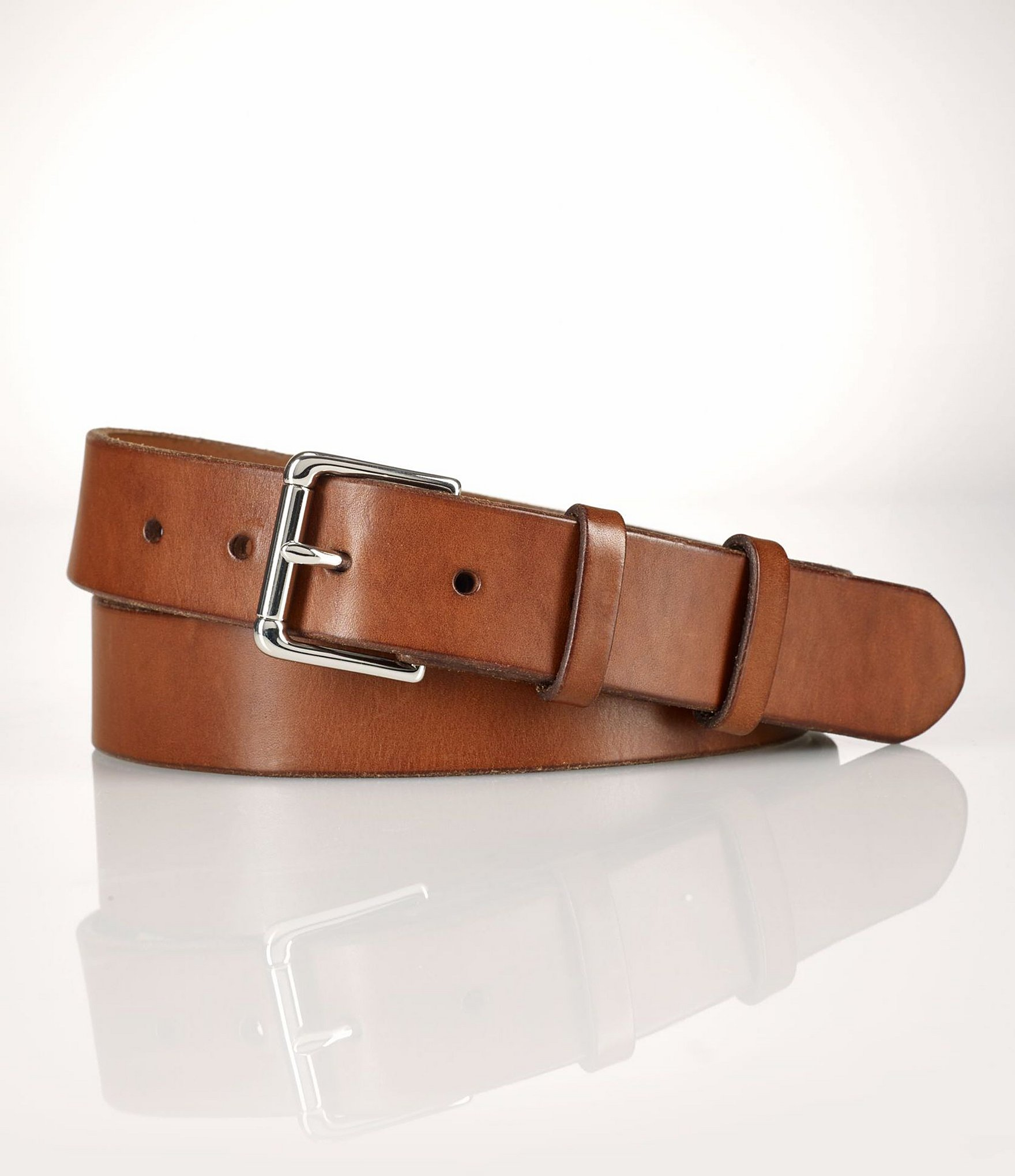 polo ralph west end leather belt in brown for