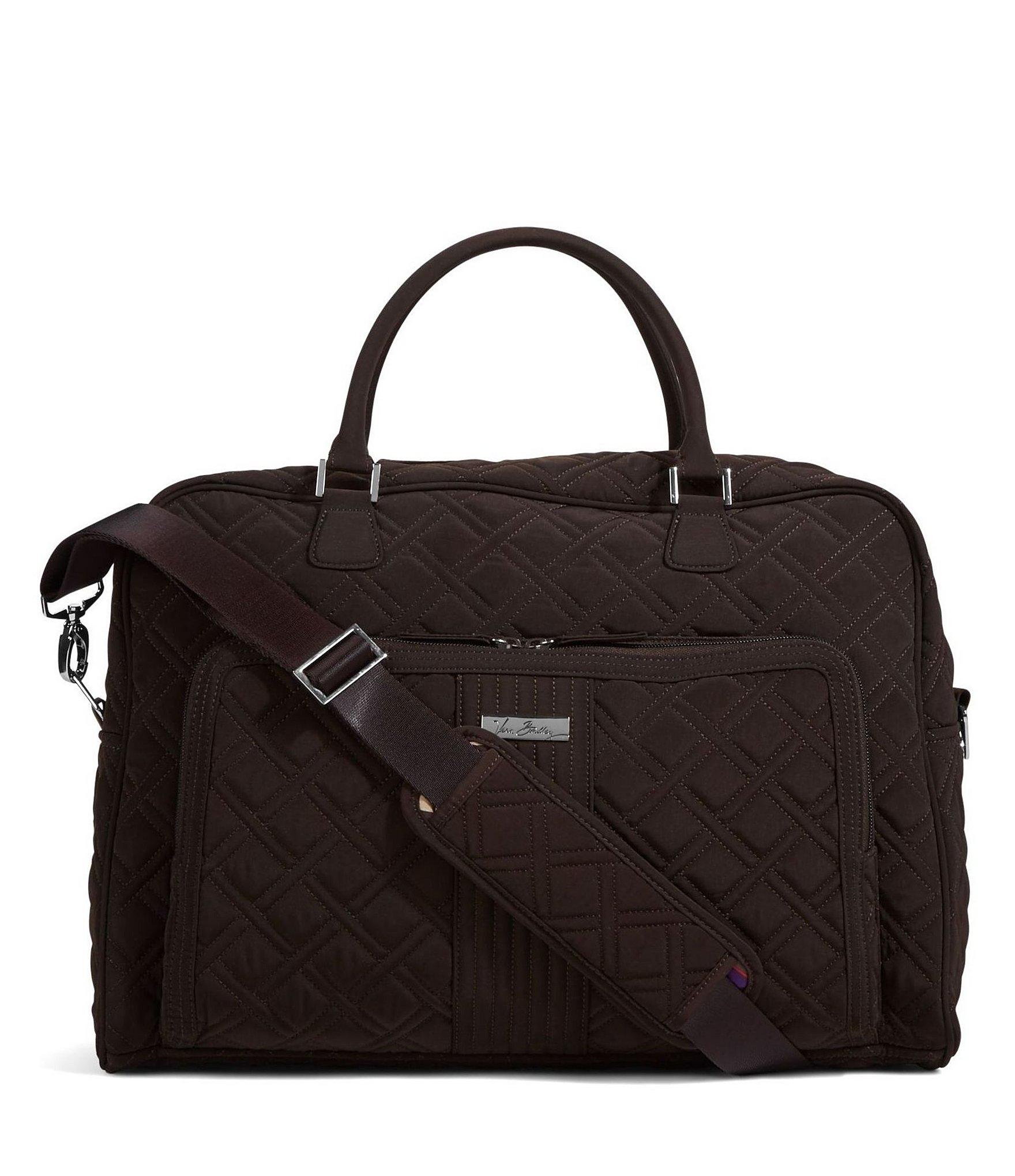 vera bradley quilted weekender travel bag in brown lyst