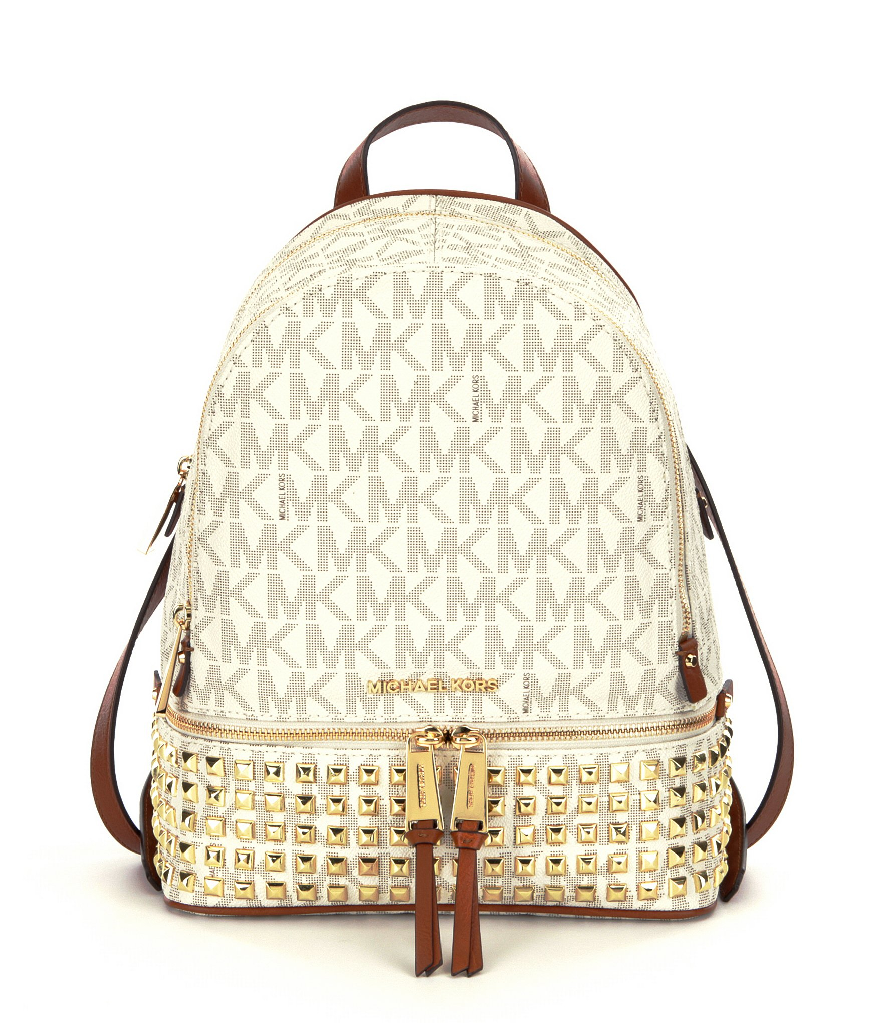 c64a9ca8626ad Lyst - MICHAEL Michael Kors Rhea Signature Studded Backpack in Brown