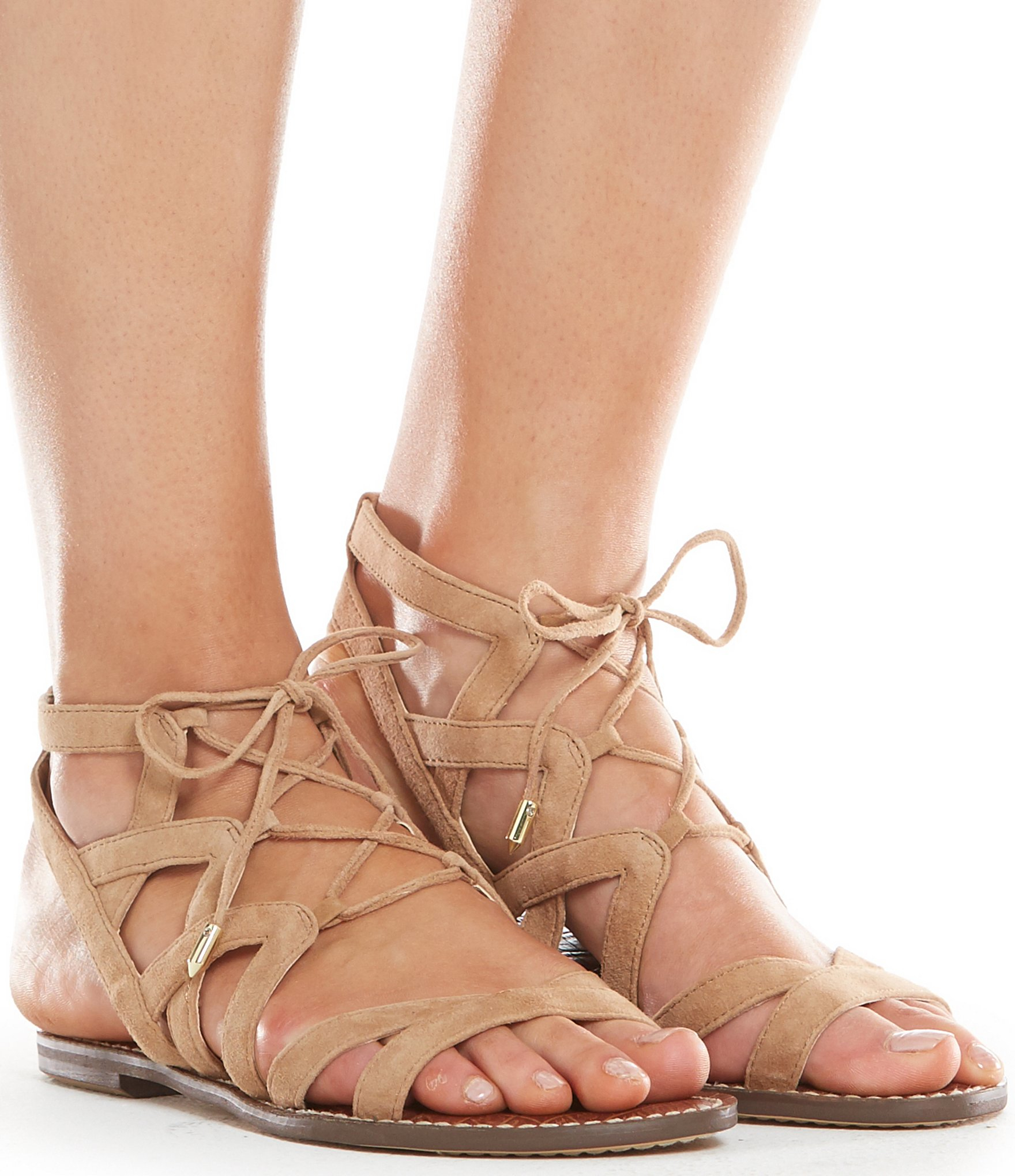aaced0fa9cf Lyst - Sam Edelman Gemma Lace-up Ghillie Sandals in Natural