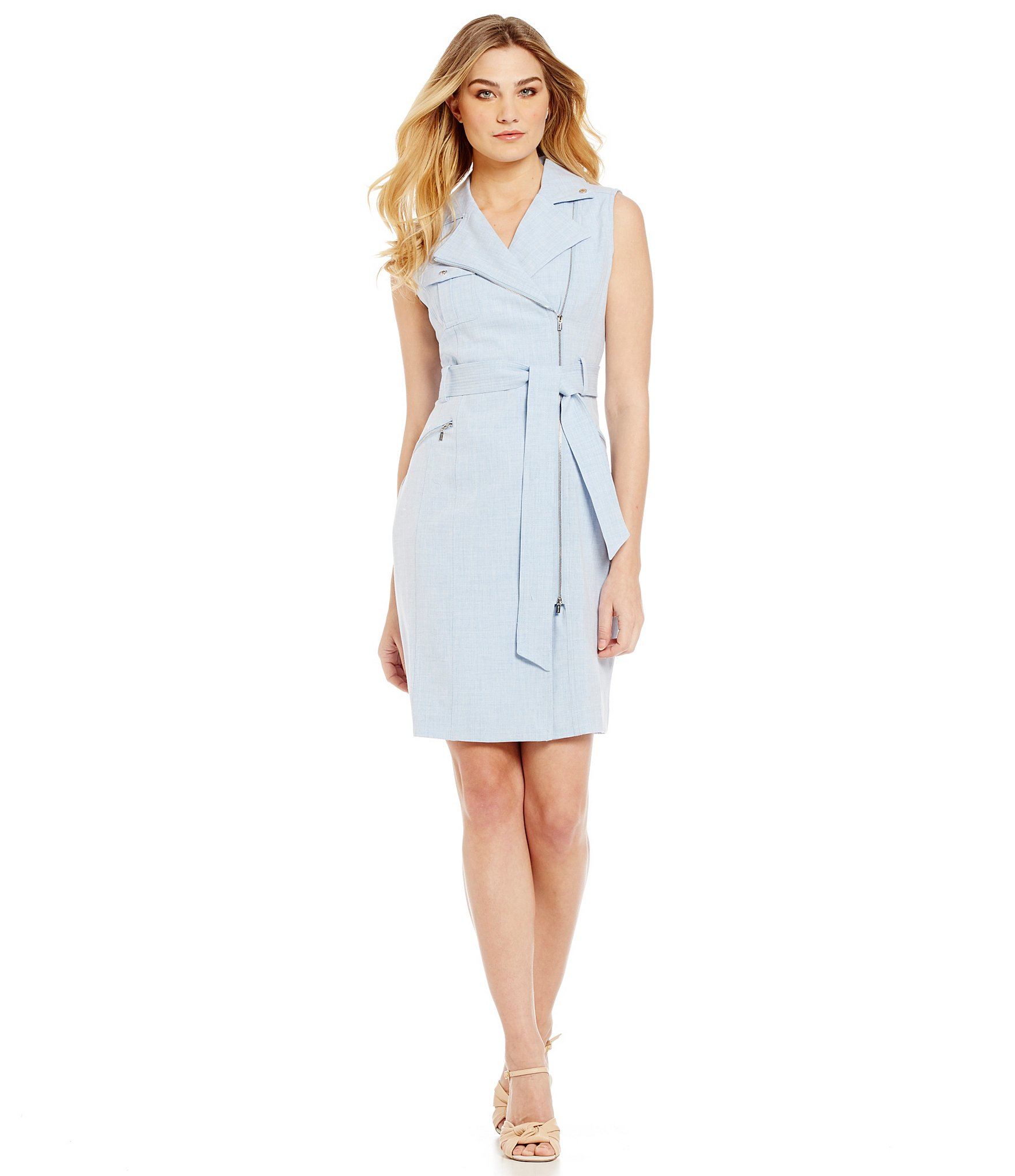 Calvin Klein Petites Belted Chambray Shirt Dress In Blue