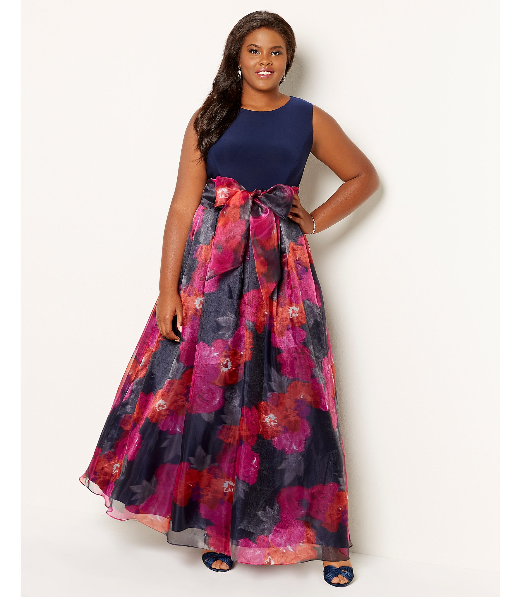 Lyst - Eliza J Plus Floral Organza Gown in Black