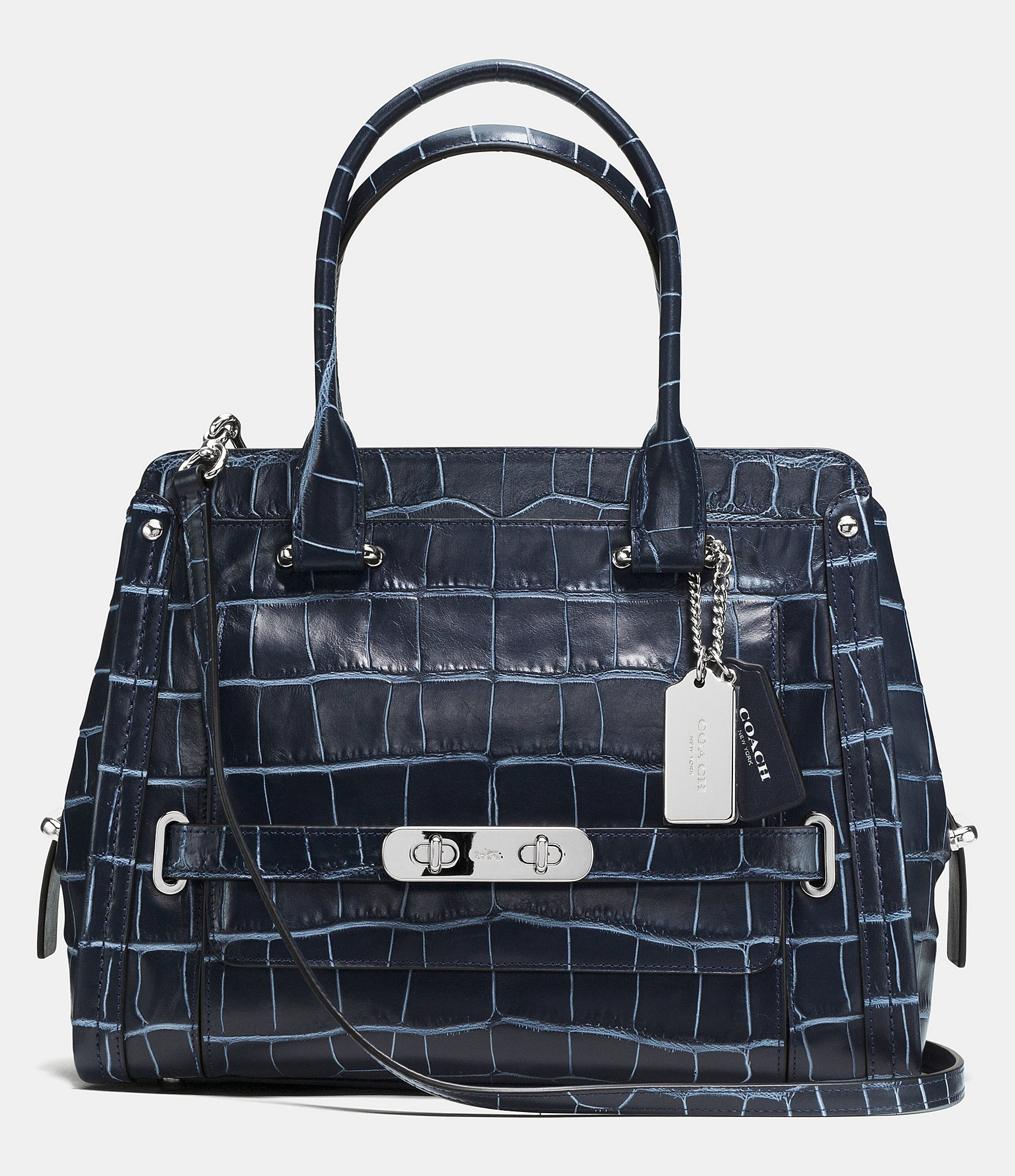 Coach Swagger Frame Satchel In Denim Croc Embossed Leather In Blue Lyst