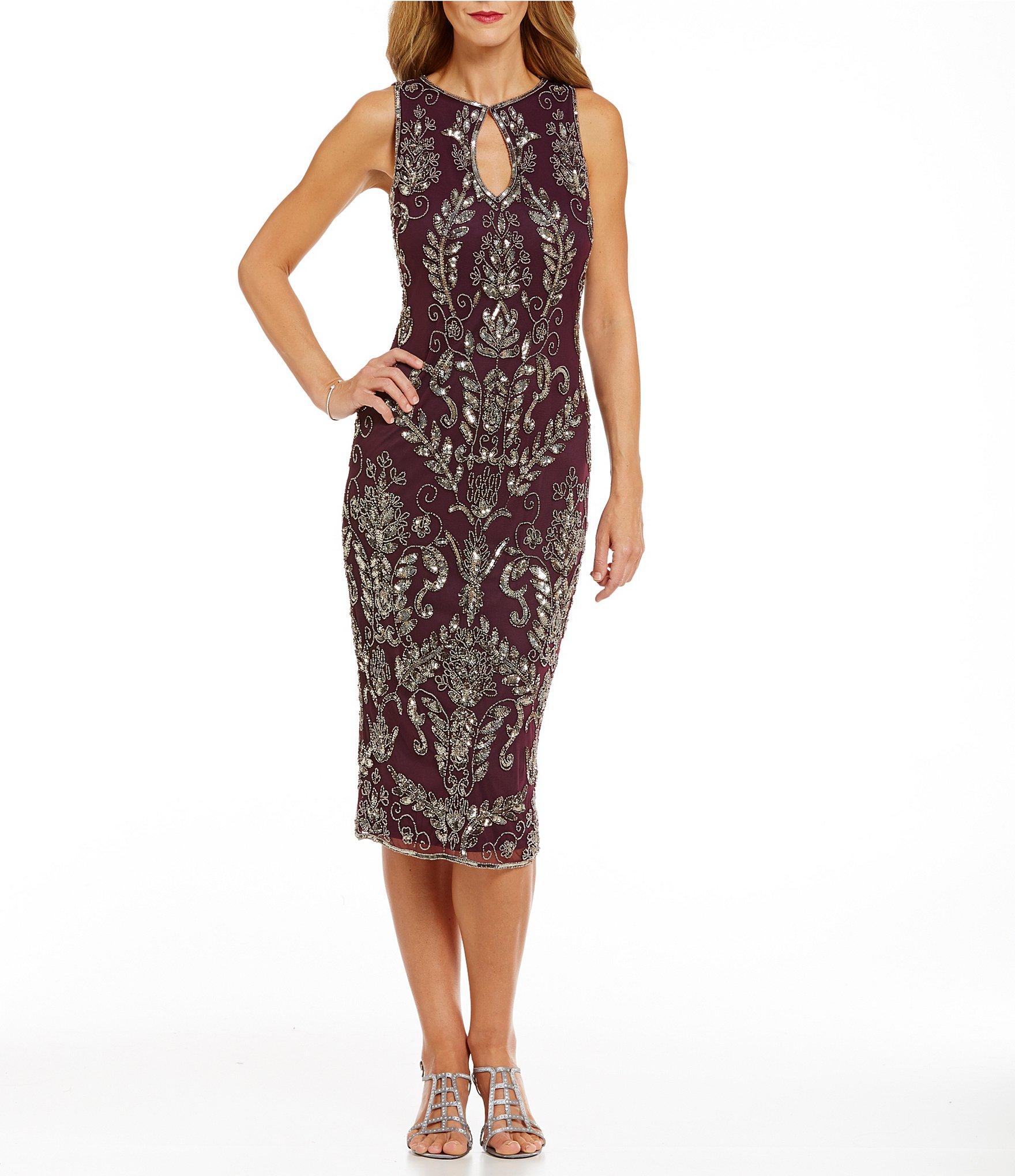 pisarro nights beaded tea length sheath dress in brown lyst