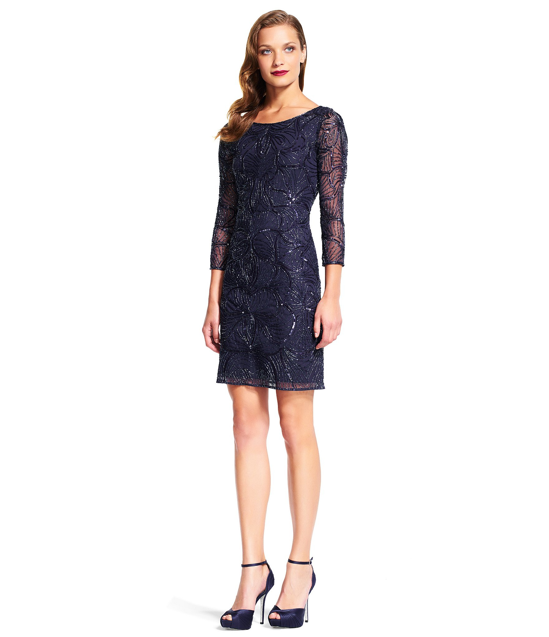 Papell Black Sequin Silk Sheath Dress A Twinkling Layer Of Sequins ...