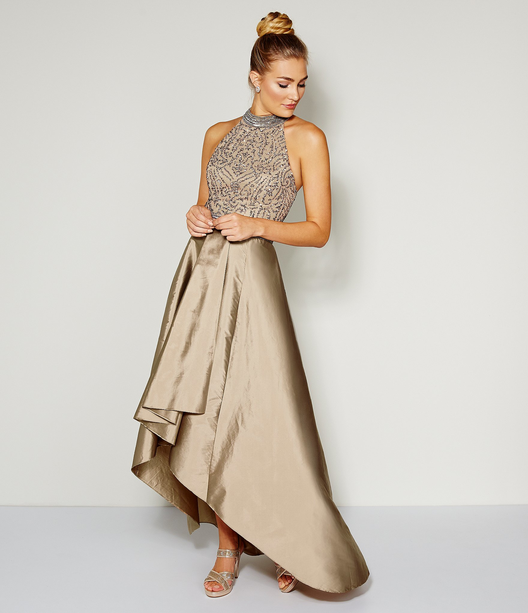 75fc1244513a2 Lyst - Adrianna Papell Beaded Halter Hi-low Gown in Metallic