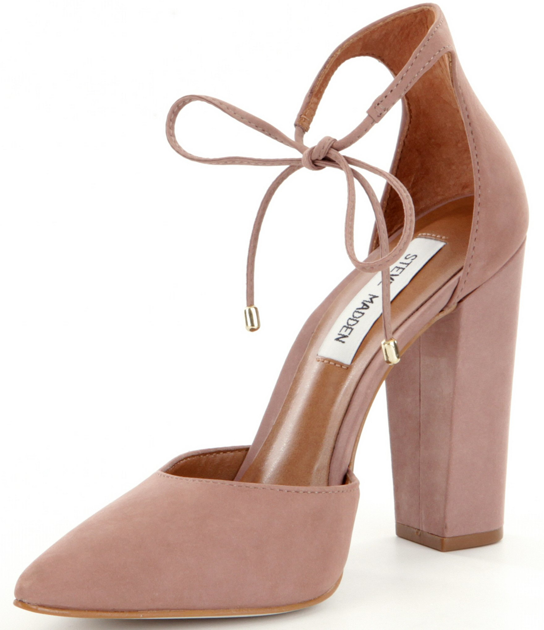 0db4886581f Lyst - Steve Madden Pampered Pointed-toe Tie Closure Pumps in Pink