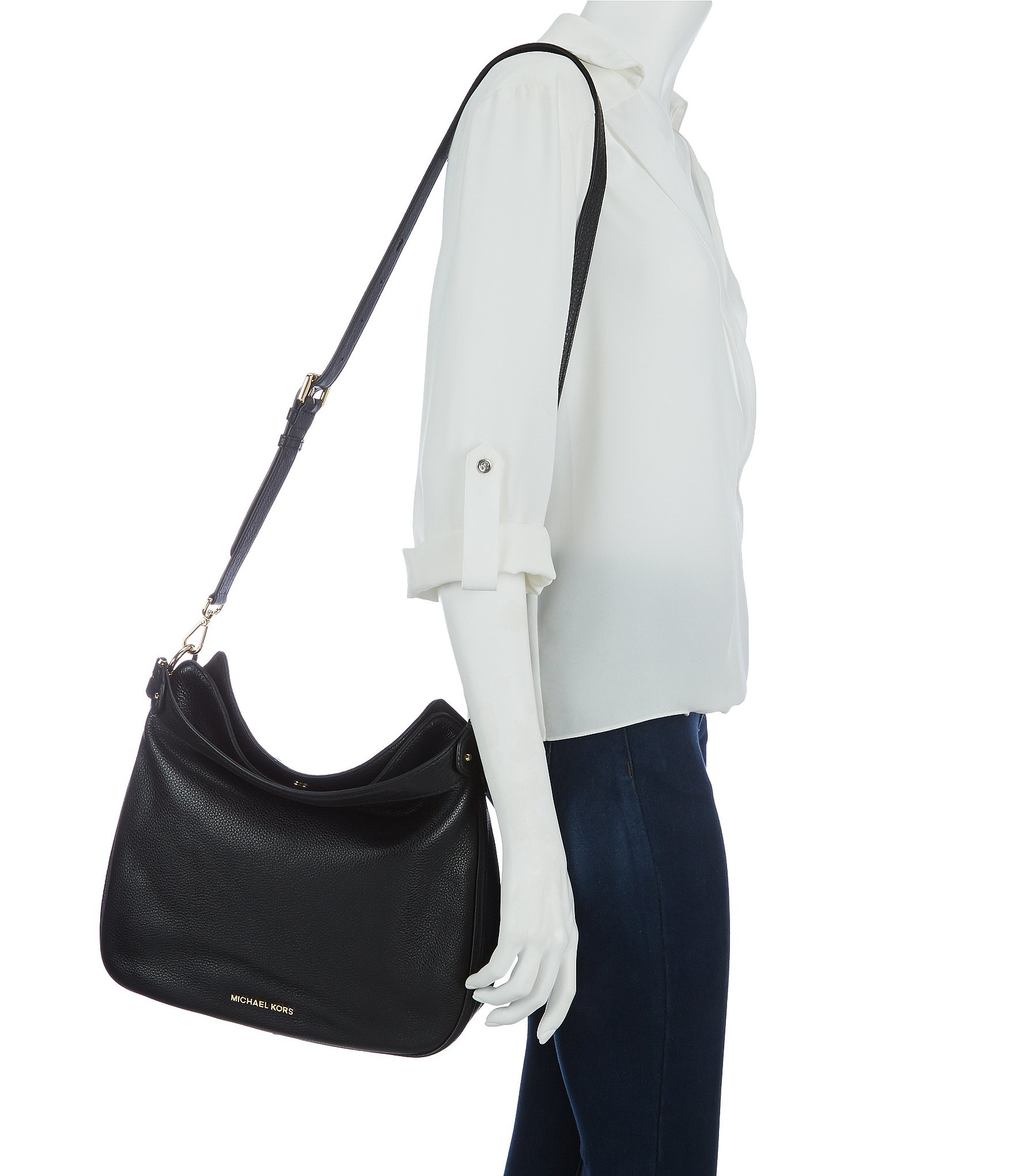 f491ee0cb5 Lyst - MICHAEL Michael Kors Heidi Medium Convertible Leather Hobo Bag in  Black
