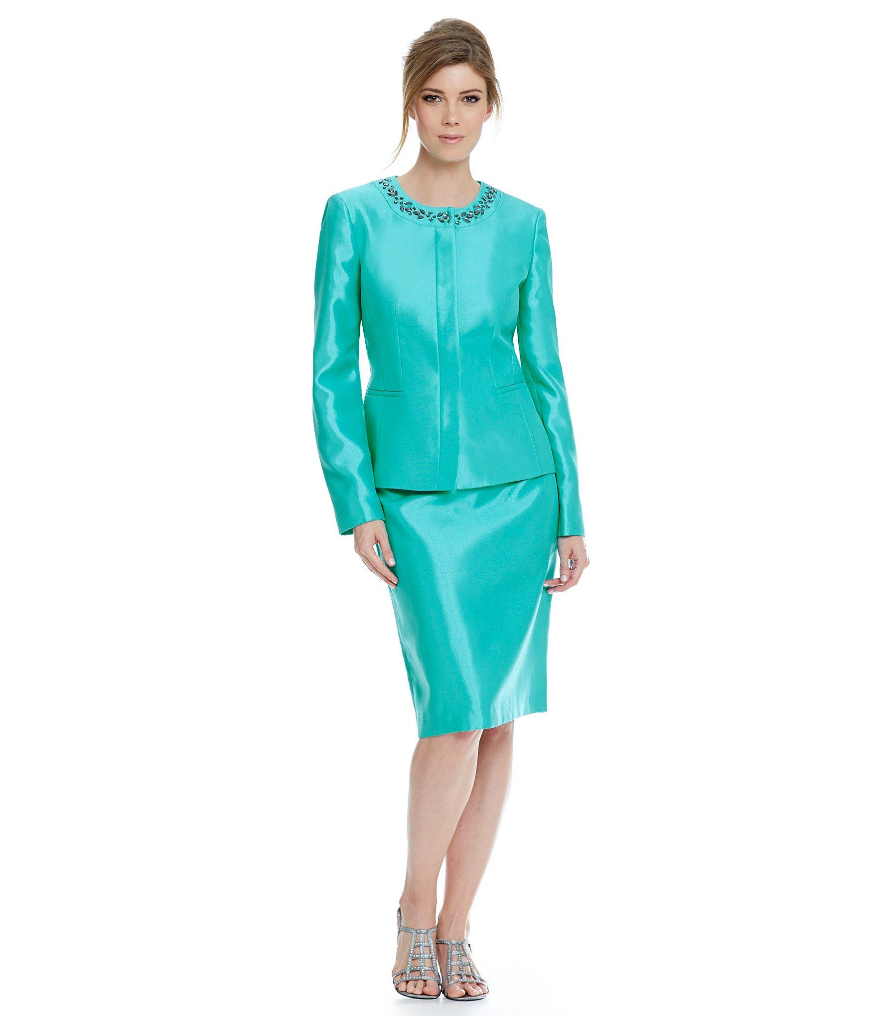 Kasper shiny embellished skirt suit in blue lyst