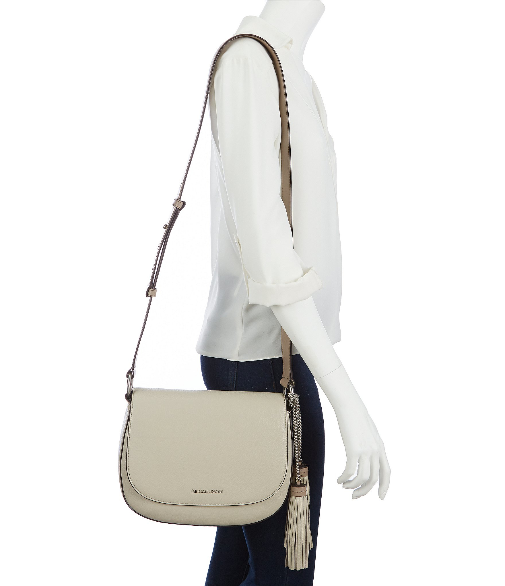 dce36bc8c0b4 Lyst - MICHAEL Michael Kors Elyse Leather Tassel Large Saddle Bag in ...