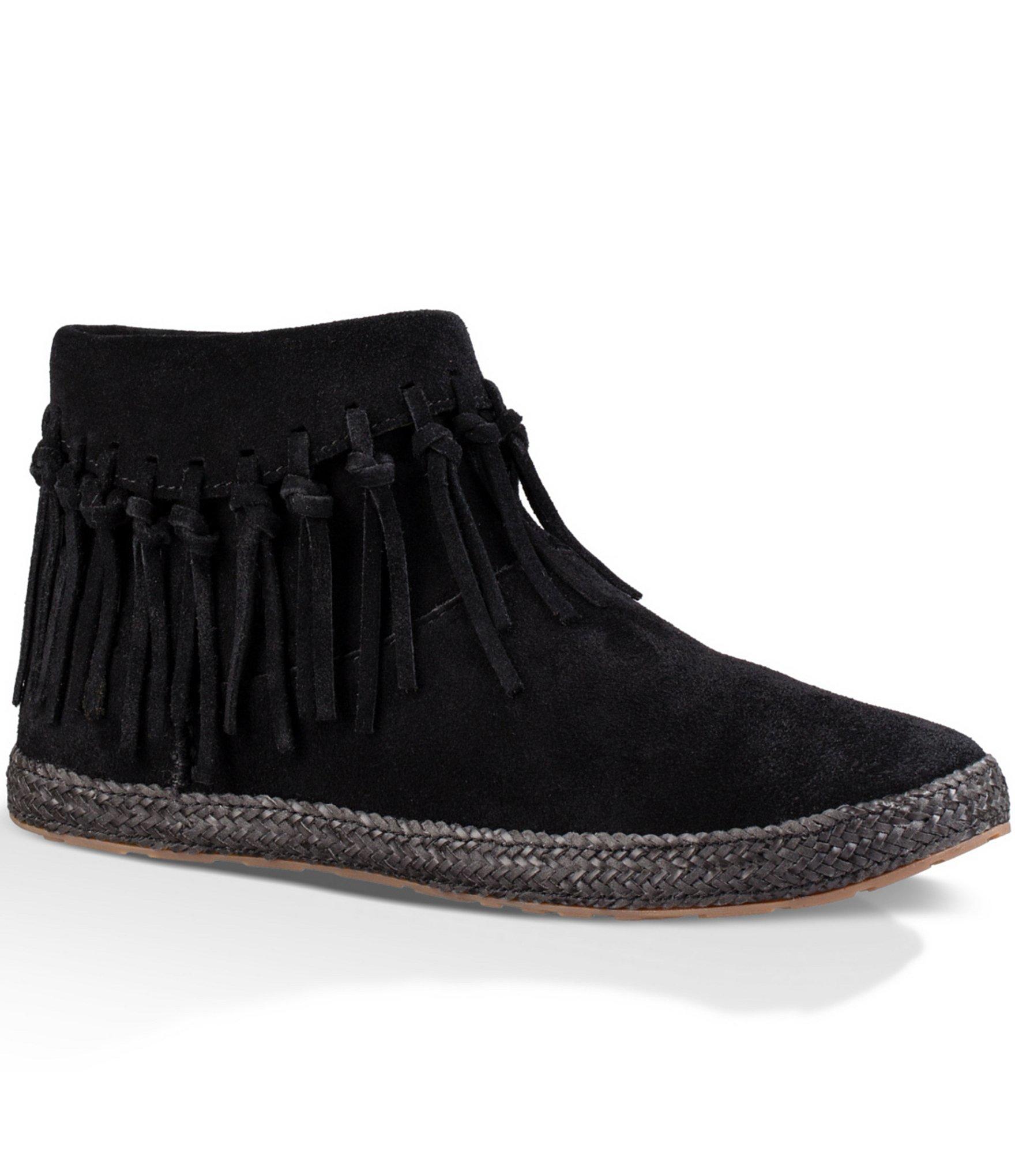 Ugg Shenandoah Fringed Suede Ankle Boots in Black | Lyst