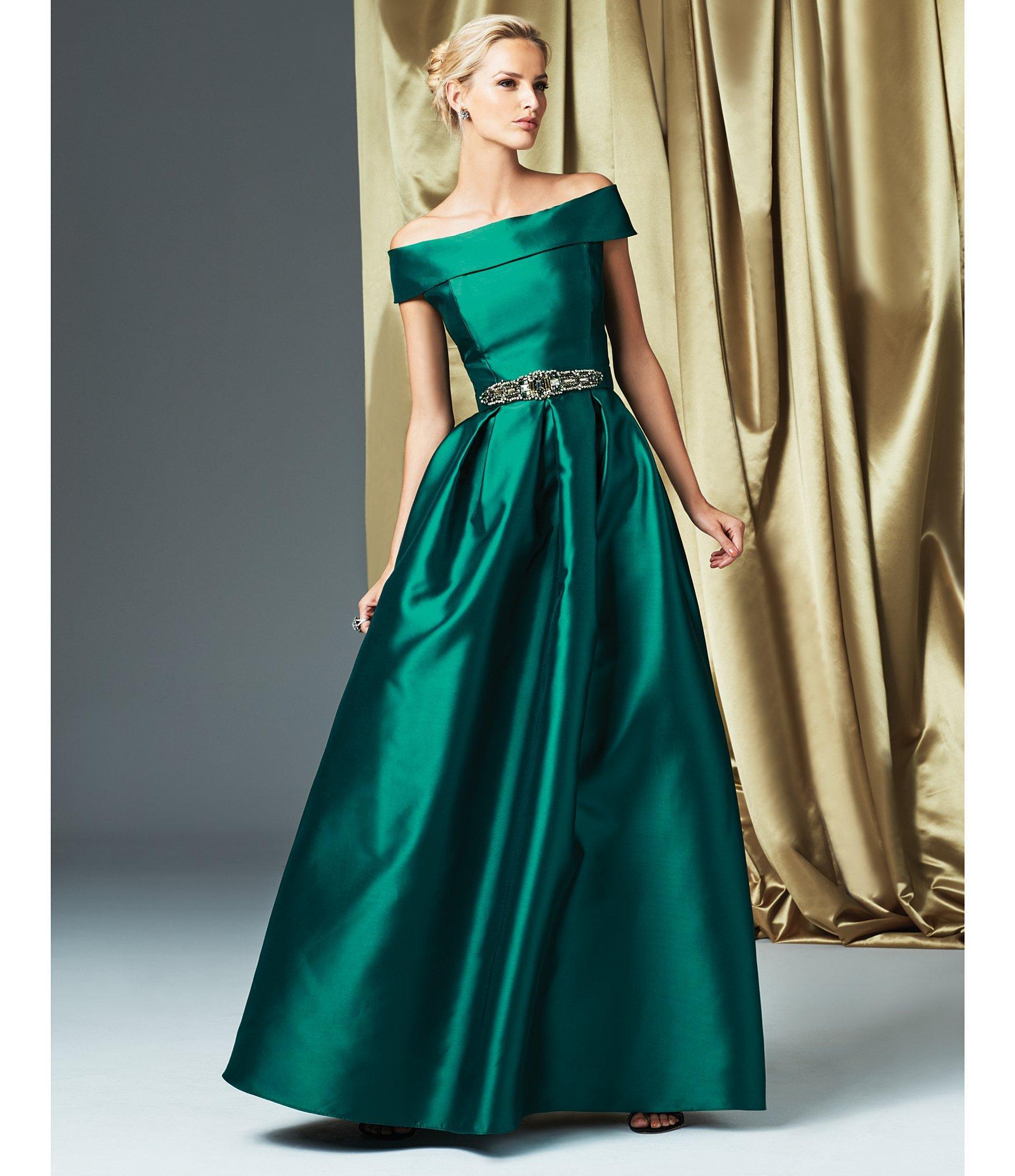 Lyst - Eliza J Off-the-shoulder Short Sleeve Taffeta Ball Gown in Green