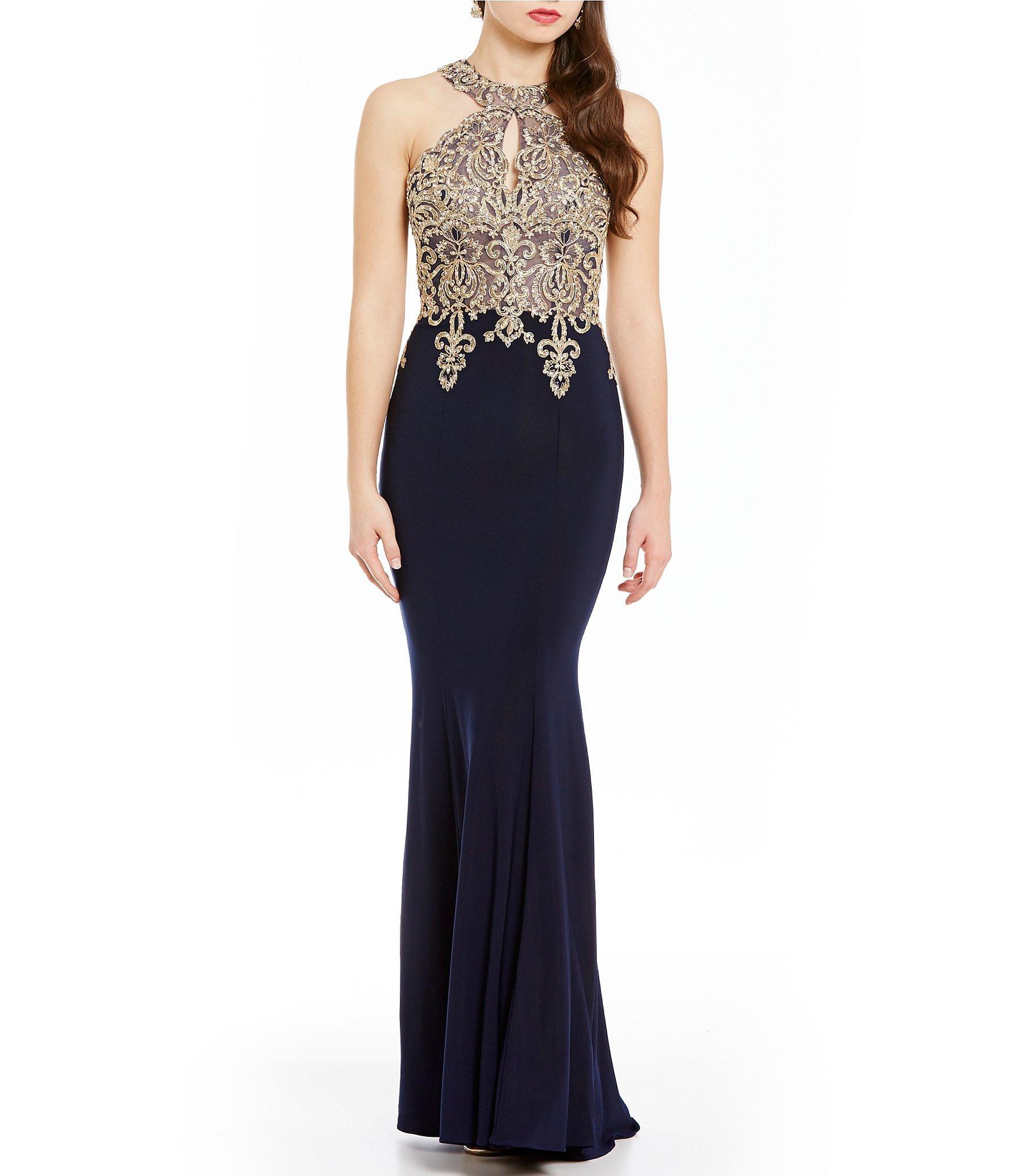 bad0e39af58 Xscape Gold Applique Halter Gown in Blue - Lyst