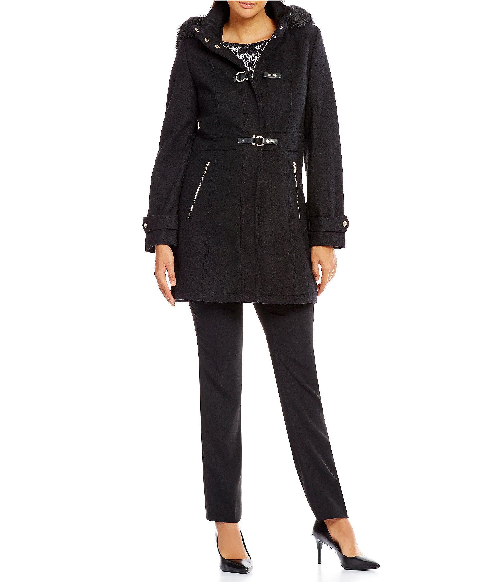 Ivanka trump Wool Walker With Detachable Faux Fur Hood in Black | Lyst