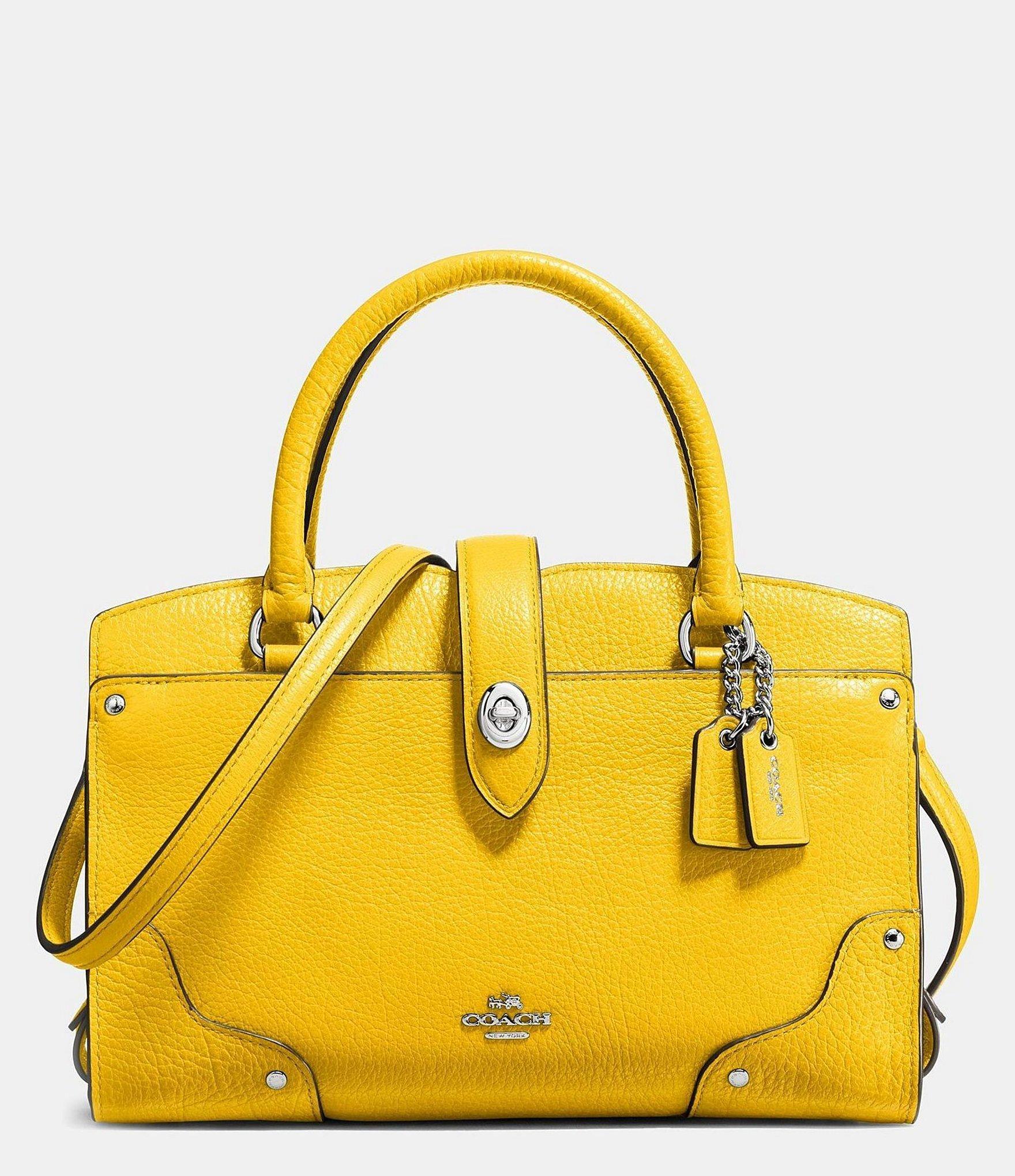 b8dab32c1f Lyst - COACH Mercer Satchel 24 In Grain Leather in Yellow
