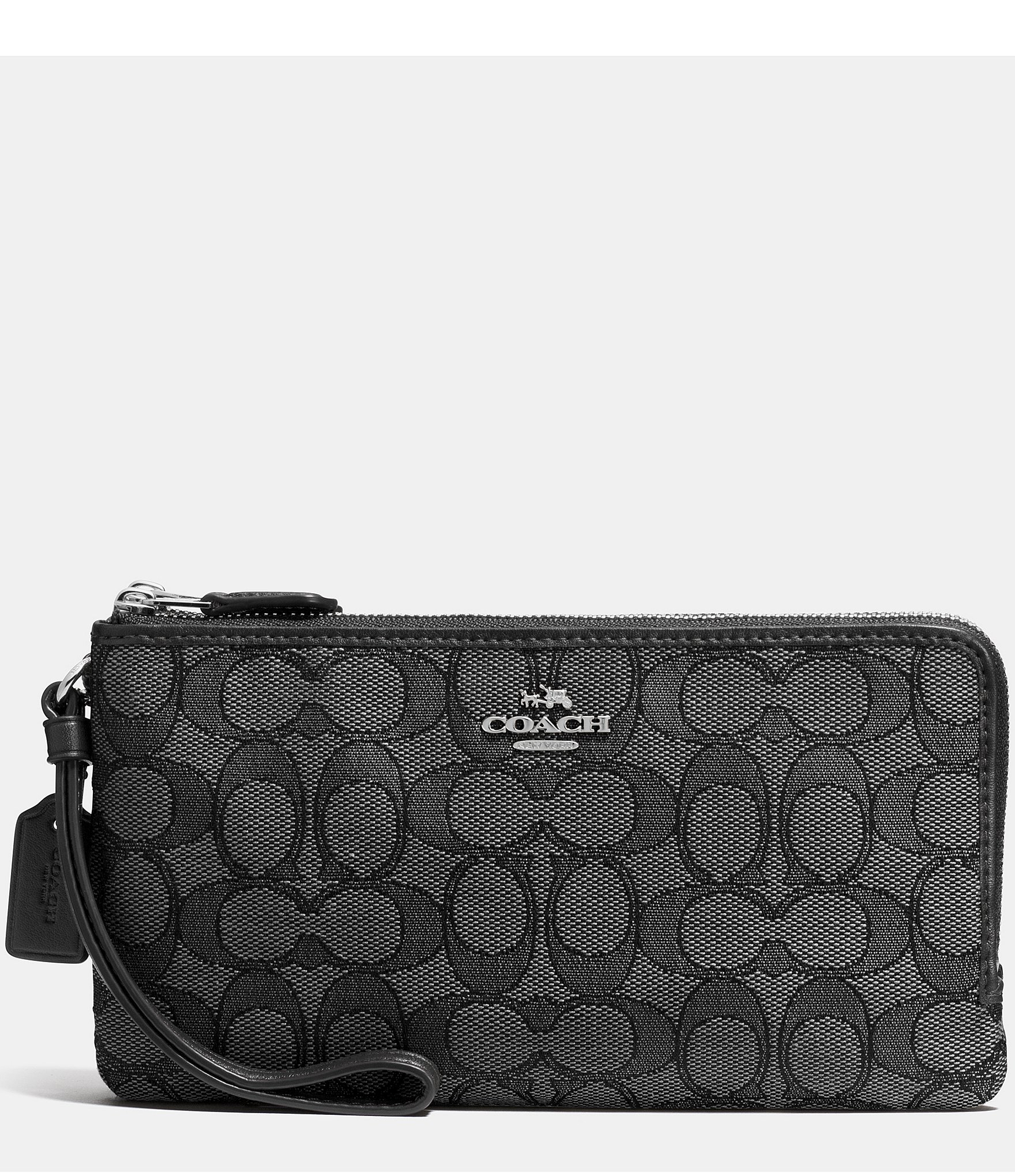 0602dd07a2 Lyst - Coach Double Zip Wallet In Signature Jacquard in Black