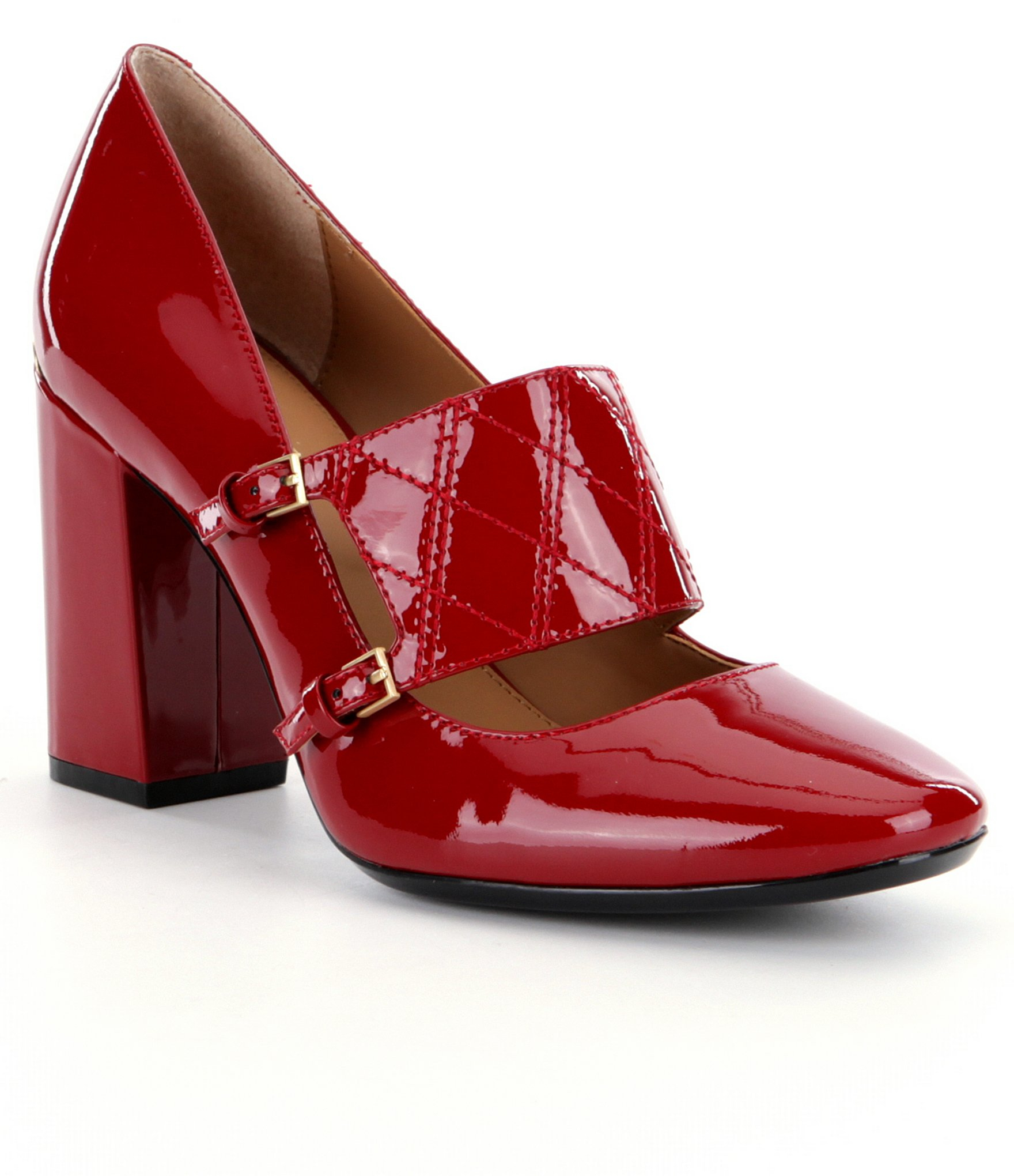 646c4985ad Calvin Klein Casilla Block Heel Pumps in Red - Lyst