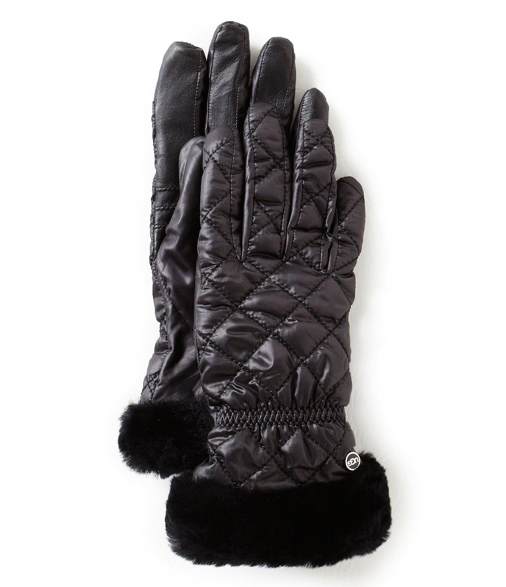 Ugg 174 Quilted Tech Gloves With Shearling Cuffs Amp Faux Fur