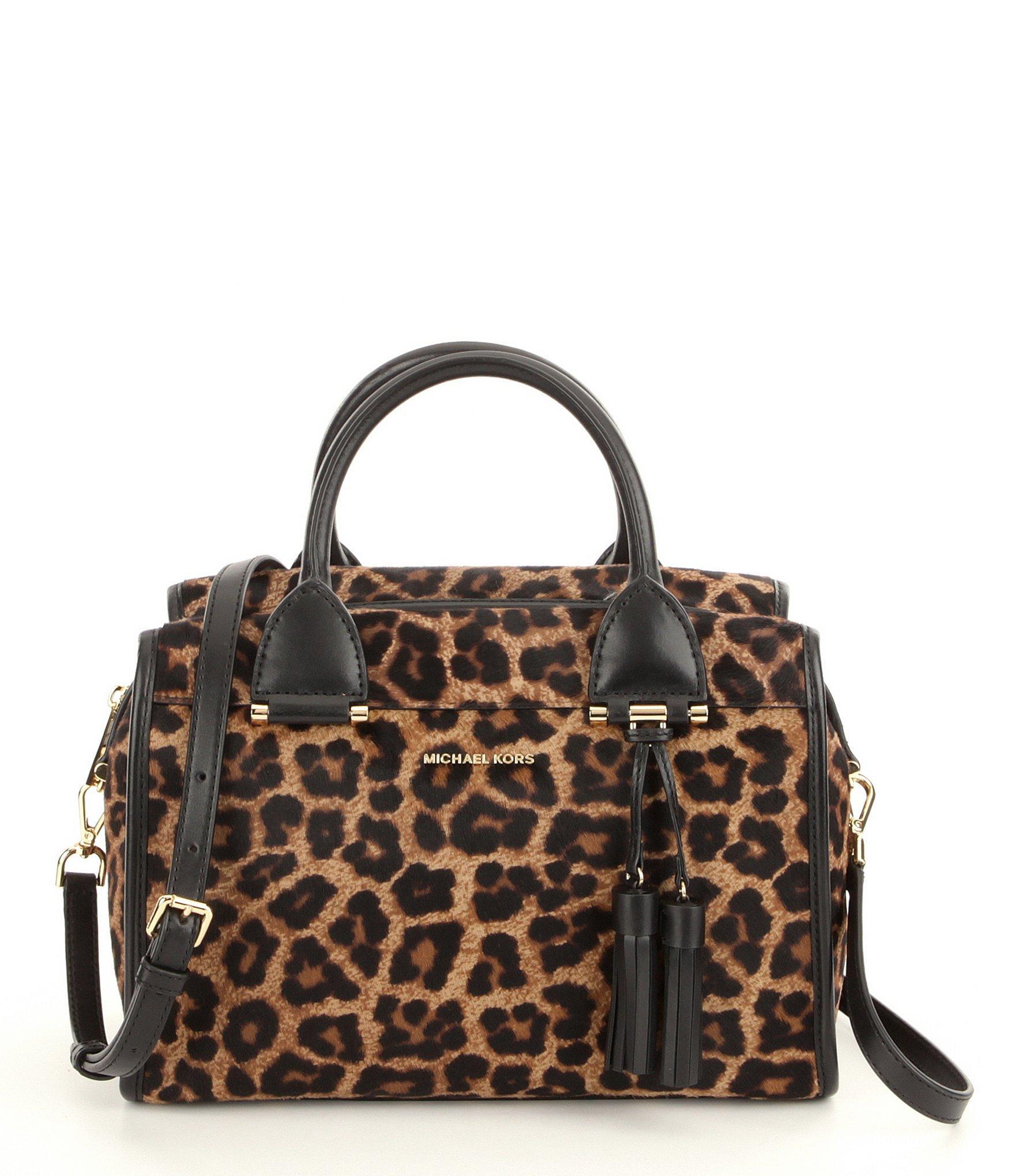 6c2bbbf2629c74 ... Black Cheetah Michael Kors Bag: Michael Michael Kors Geneva Tasseled  Leopard-print