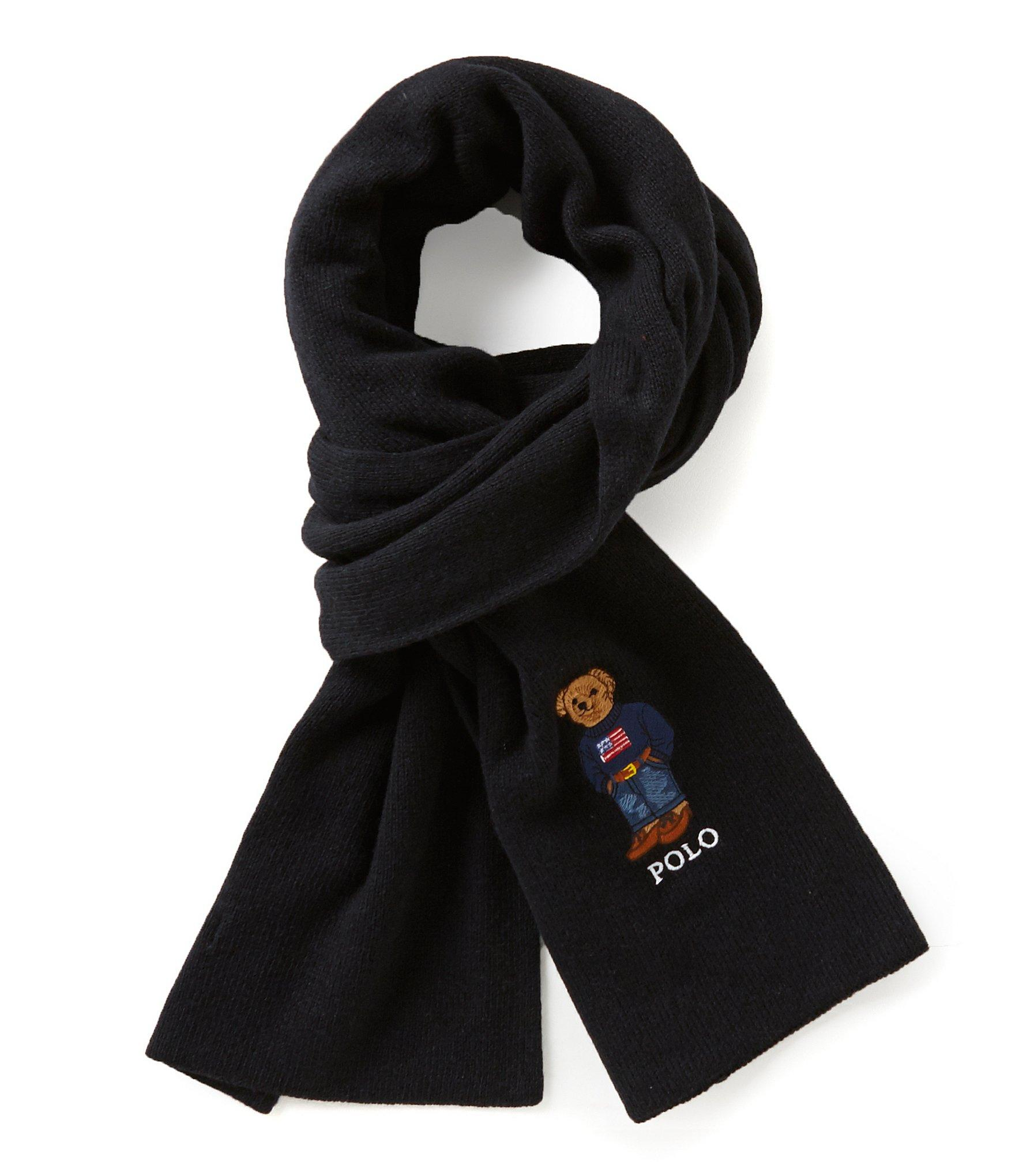 polo ralph polo cardigan ribbed scarf in black