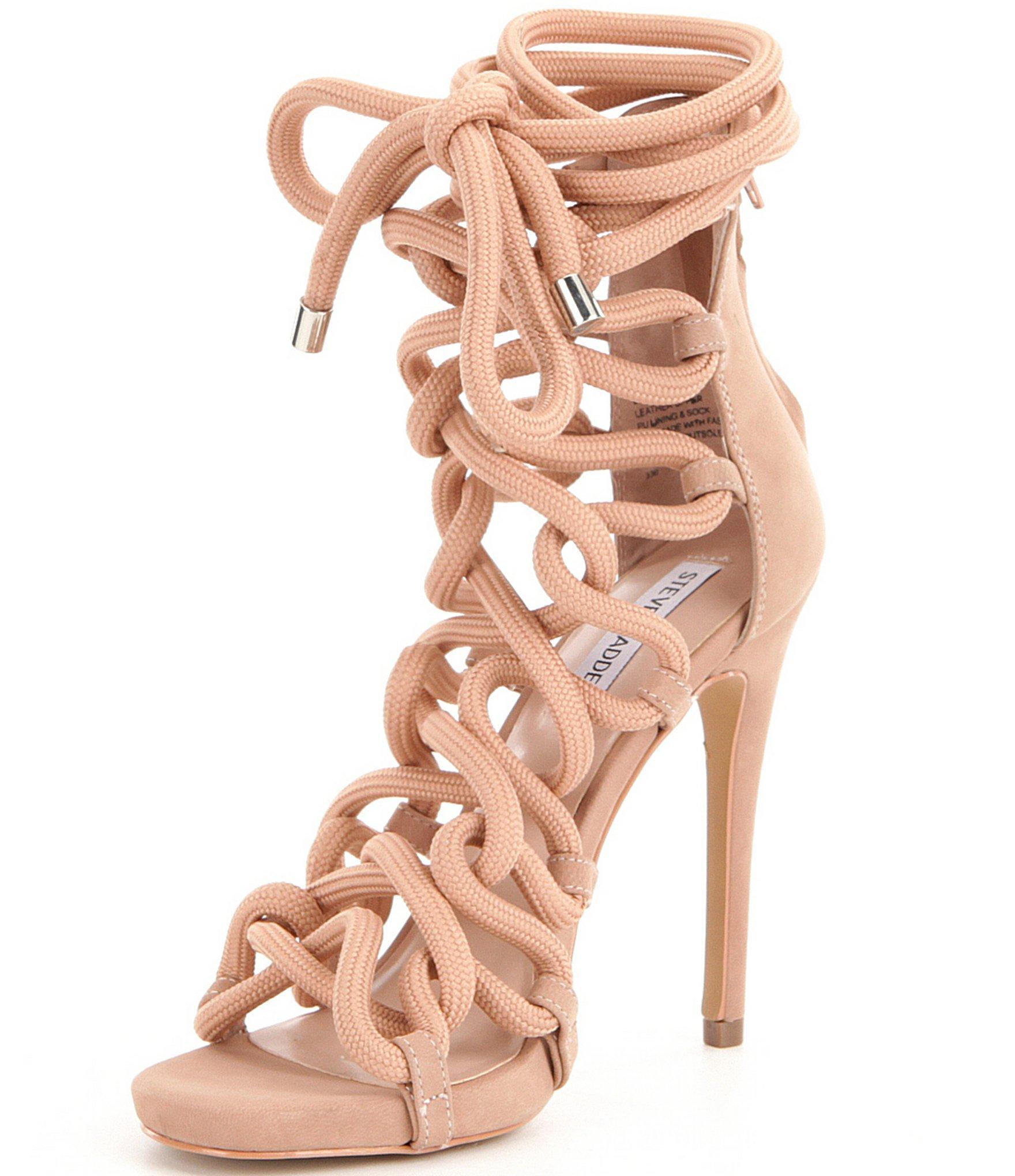 2c847e351dd Lyst steve madden dancin back zip bungee inspired lace up high jpg  1760x2040 Rope heels steve