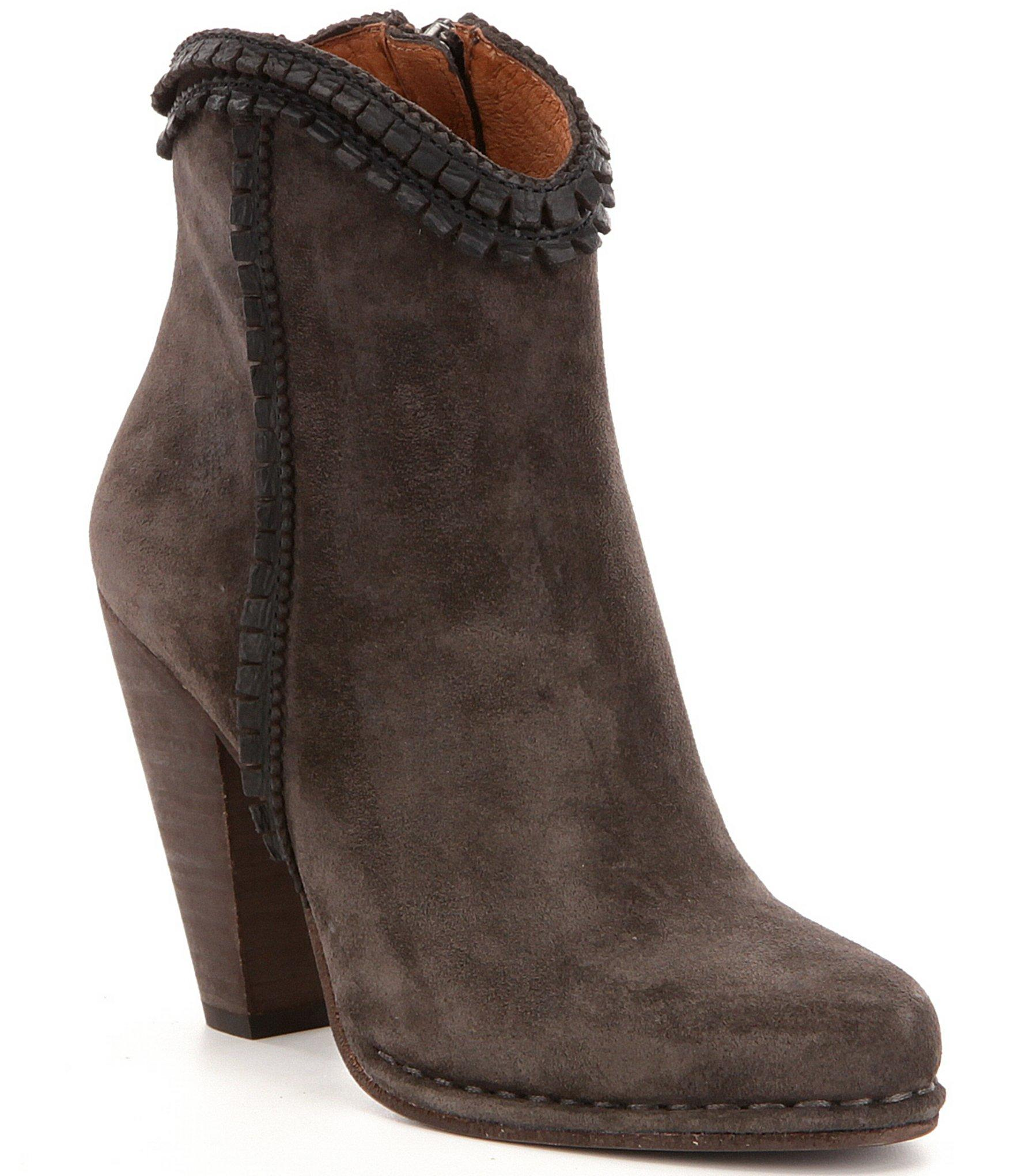 frye madeline suede leather trim pickstitched high heel