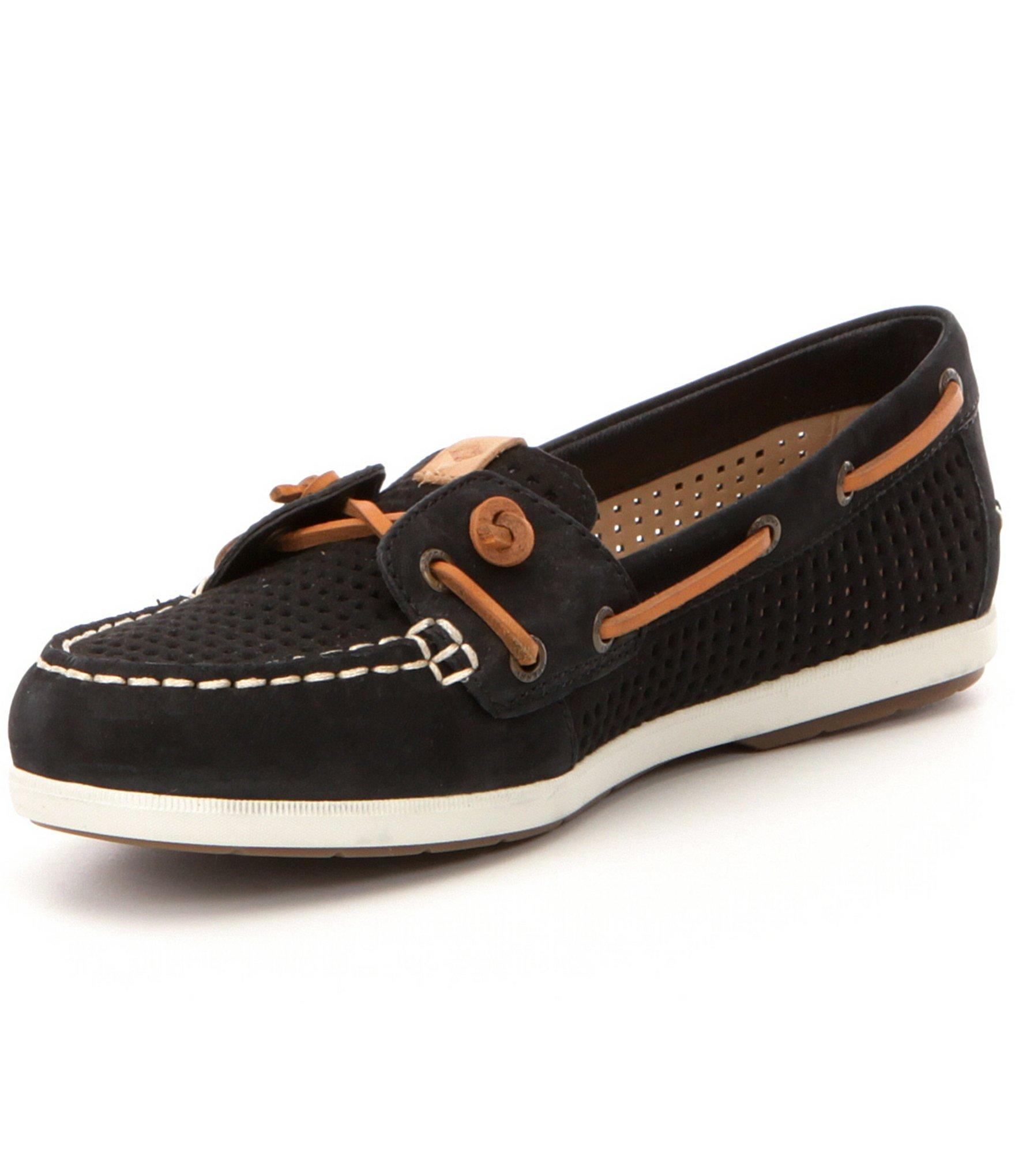 Sperry Coil Ivy Perforated Leather Slip On Boat Shoes