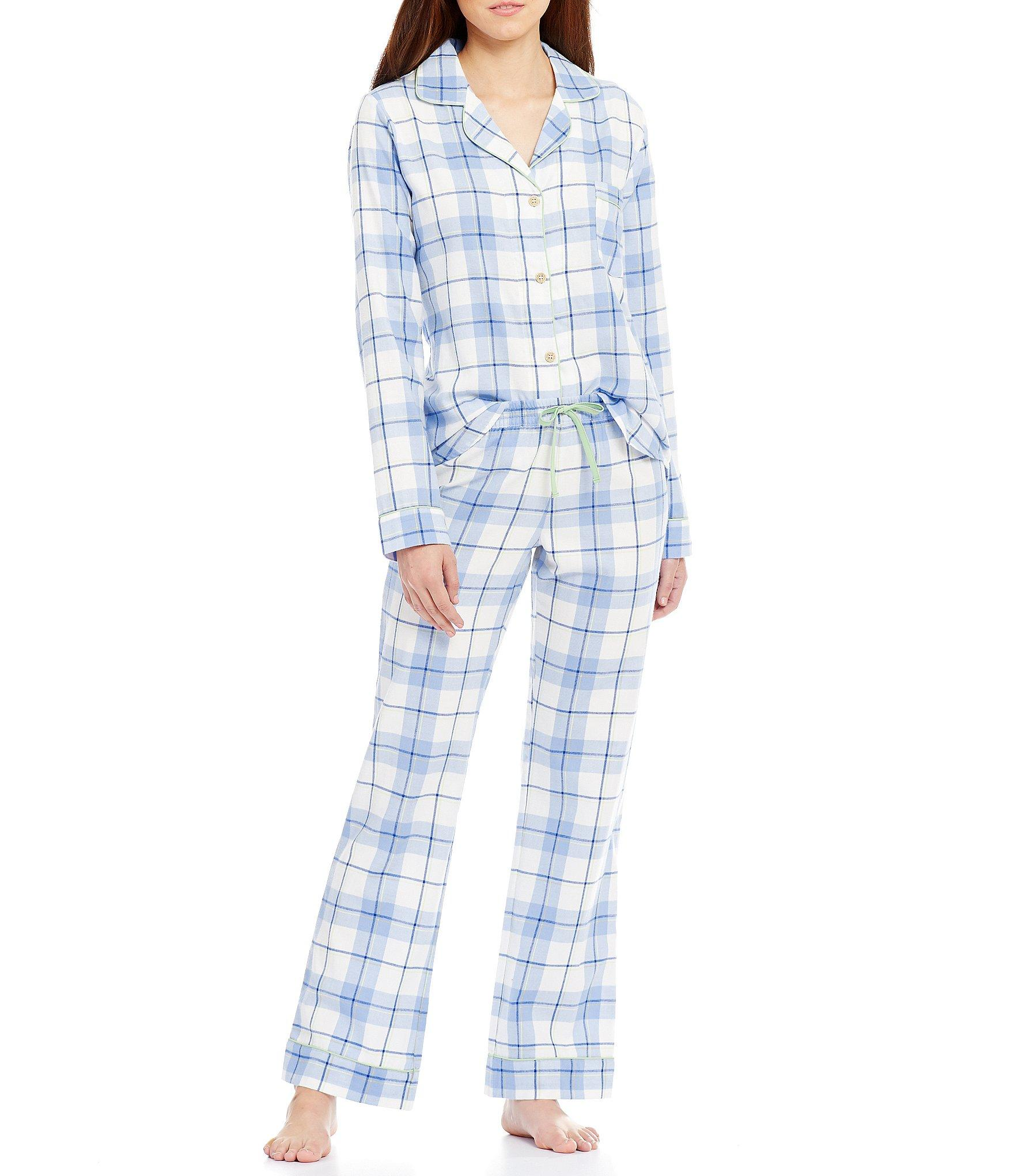 ugg u00ae raven plaid flannel pajamas in blue