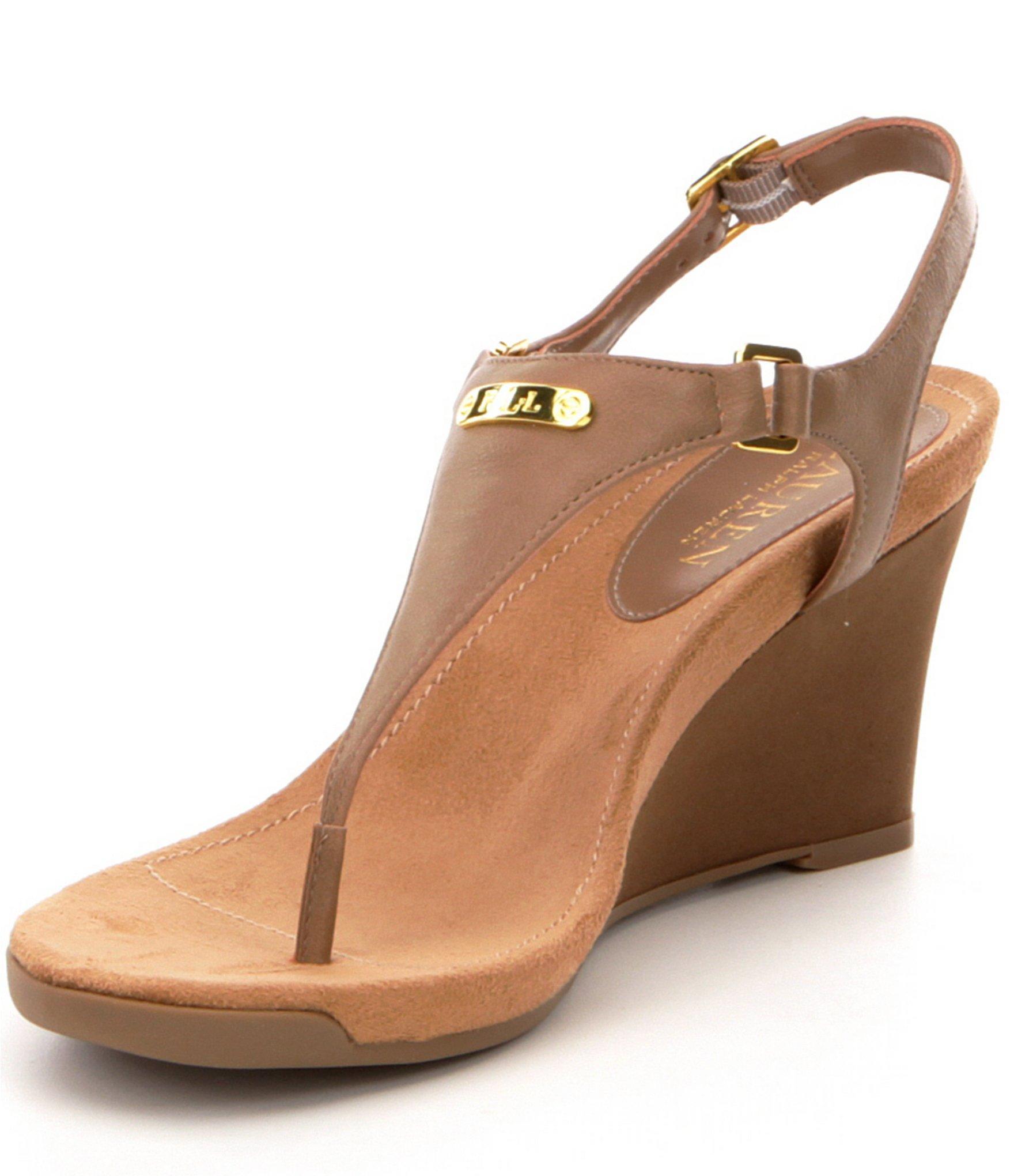 Lauren By Ralph Lauren Nikki Leather Wedge Sandals In
