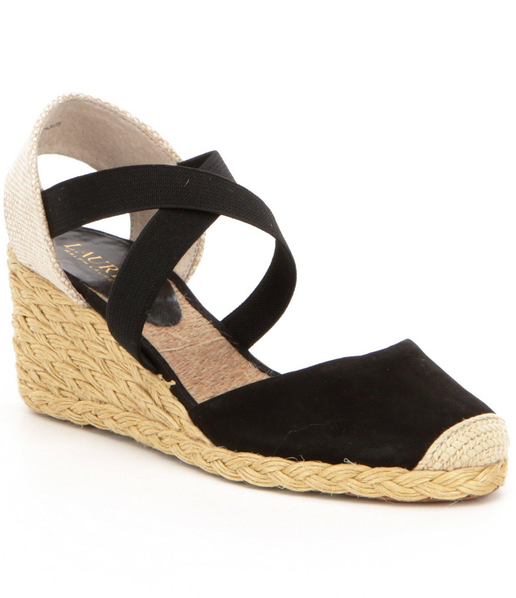 lauren by ralph lauren women s casandra nubuck elastic espadrille wedges in black lyst. Black Bedroom Furniture Sets. Home Design Ideas