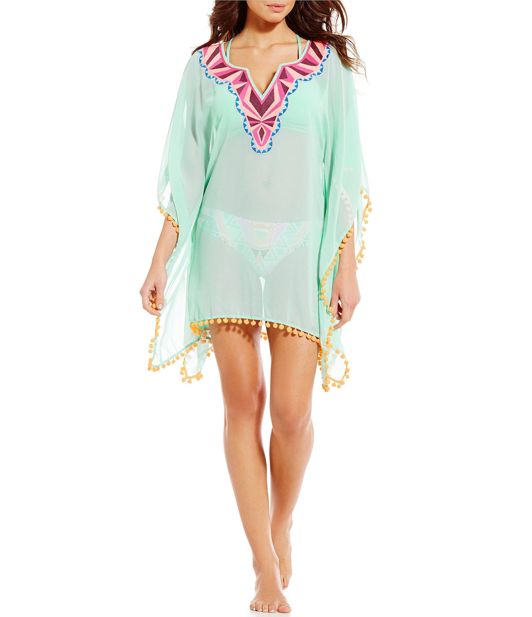 Gianni bini Embroidered Poncho Cover-up in Blue | Lyst