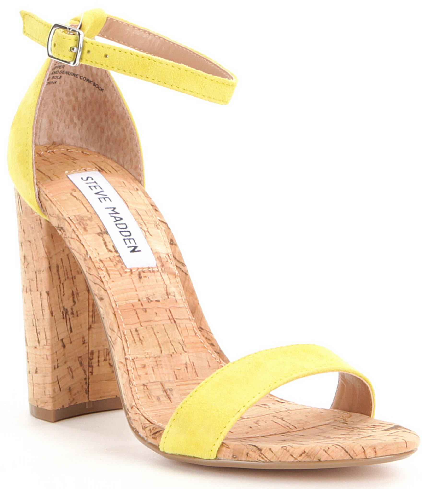 Steve madden Carson Ankle Strap Cork Block Heel Sandals in Yellow