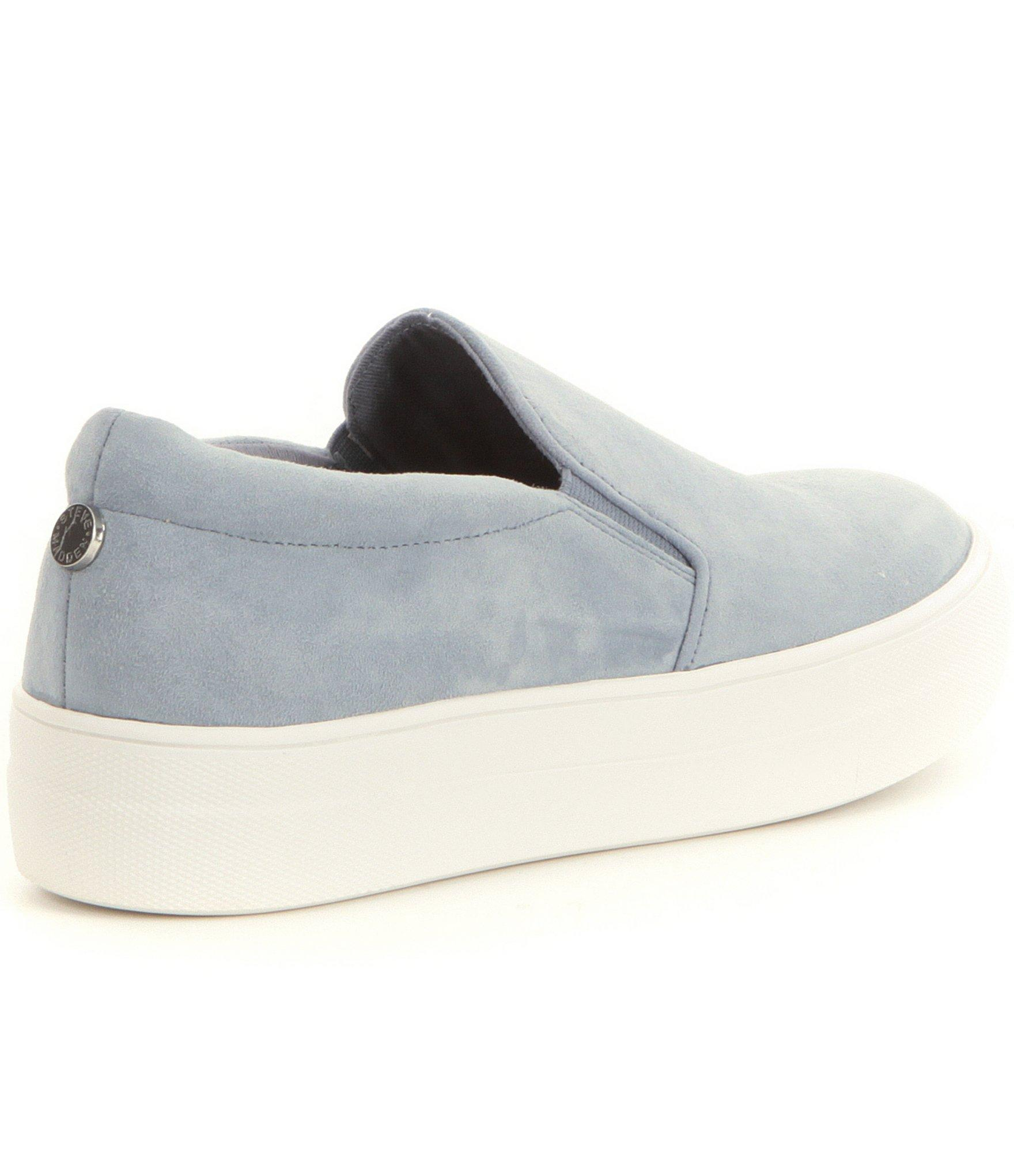 1ff884e333d Lyst - Steve Madden Gills Suede Slip On Platform Sneakers in Blue