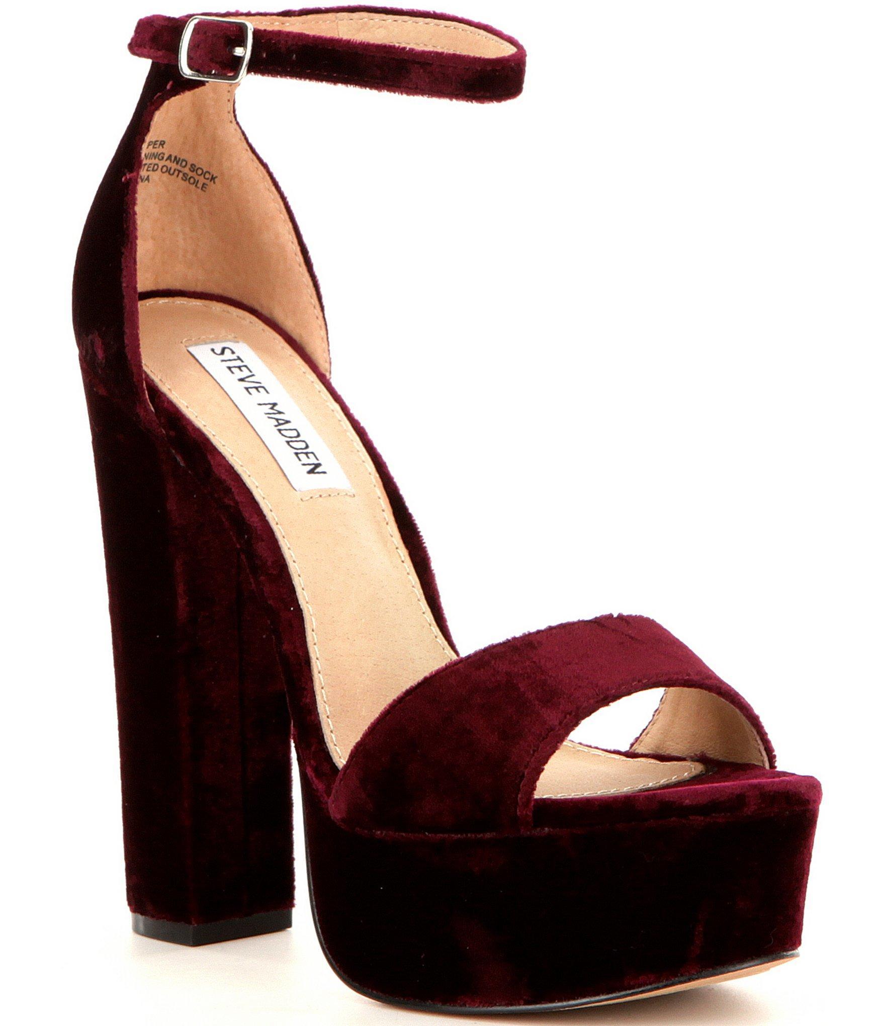 6c4614f0fa Steve Madden Gonzo Velvet Platform Block Heel Dress Sandals in Red ...
