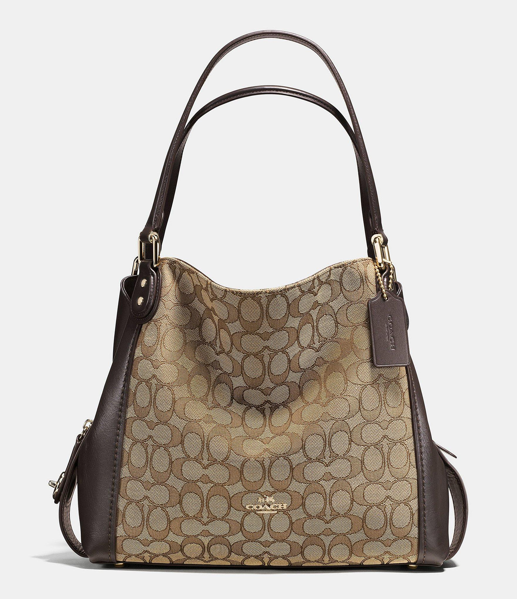 Coach Edie 31 Signature Jacquard Shoulder Bag In Brown Lyst