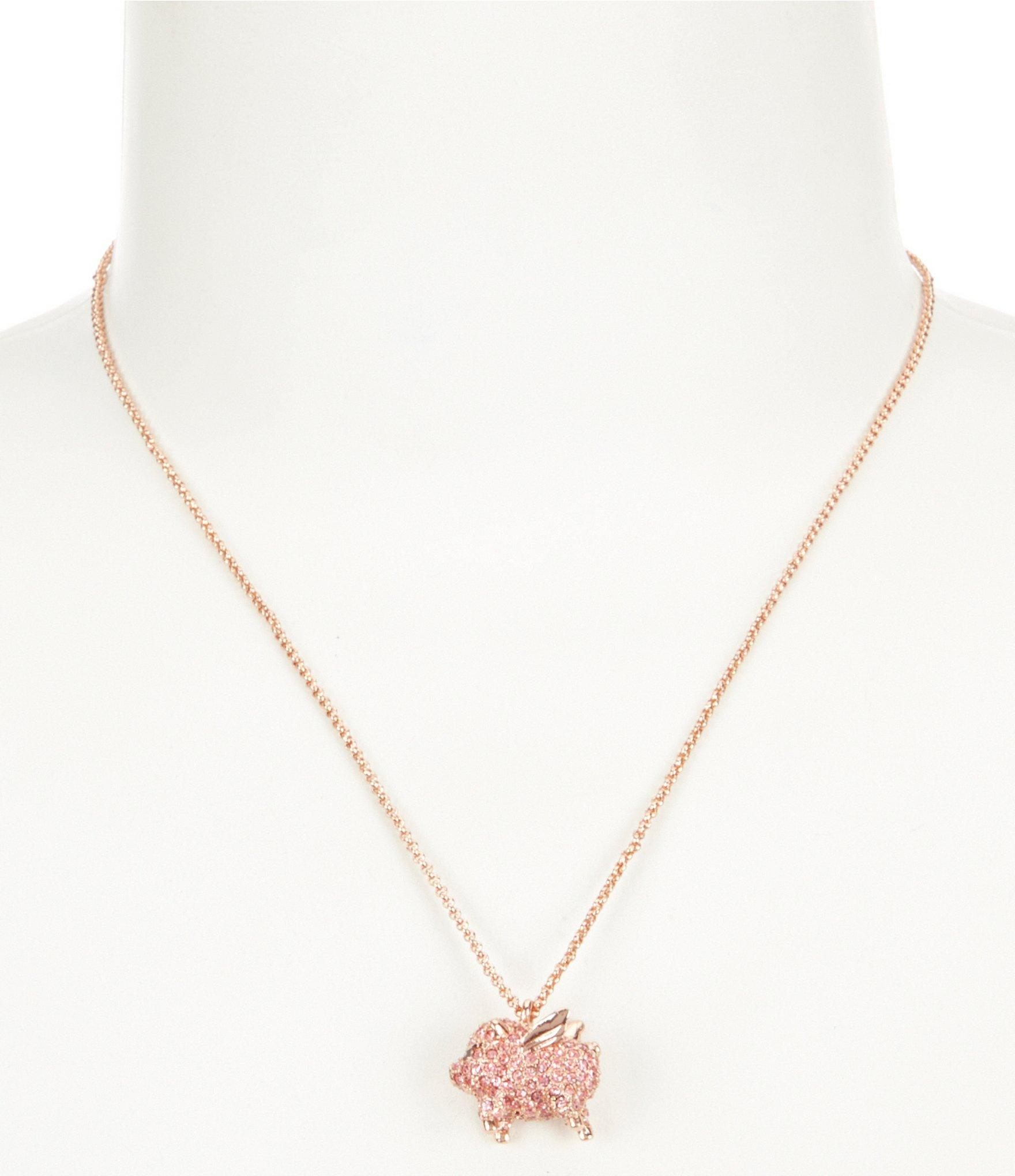 Lyst kate spade new york pav pig mini pendant necklace in metallic gallery mozeypictures Gallery