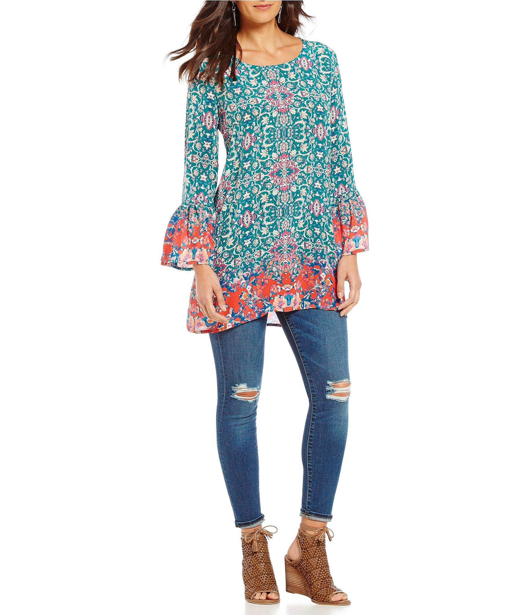Lyst Tolani Belle Printed Long Bell Sleeve Tunic in Blue