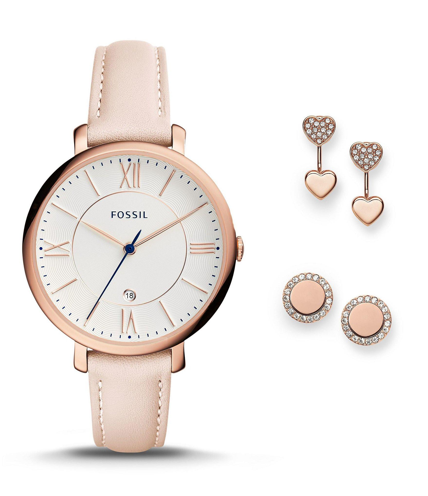 Fossil Women's Jacqueline Pink Leather Strap Watch 36mm ...