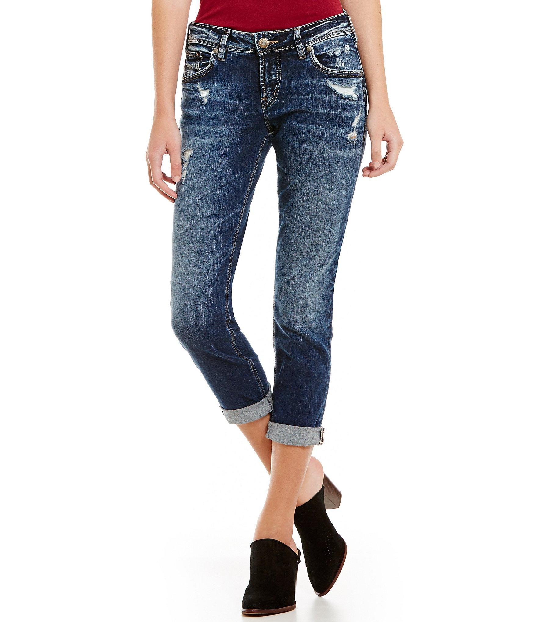 Silver jeans co. Sam Super Stretch Distressed Cuffed Boyfriend