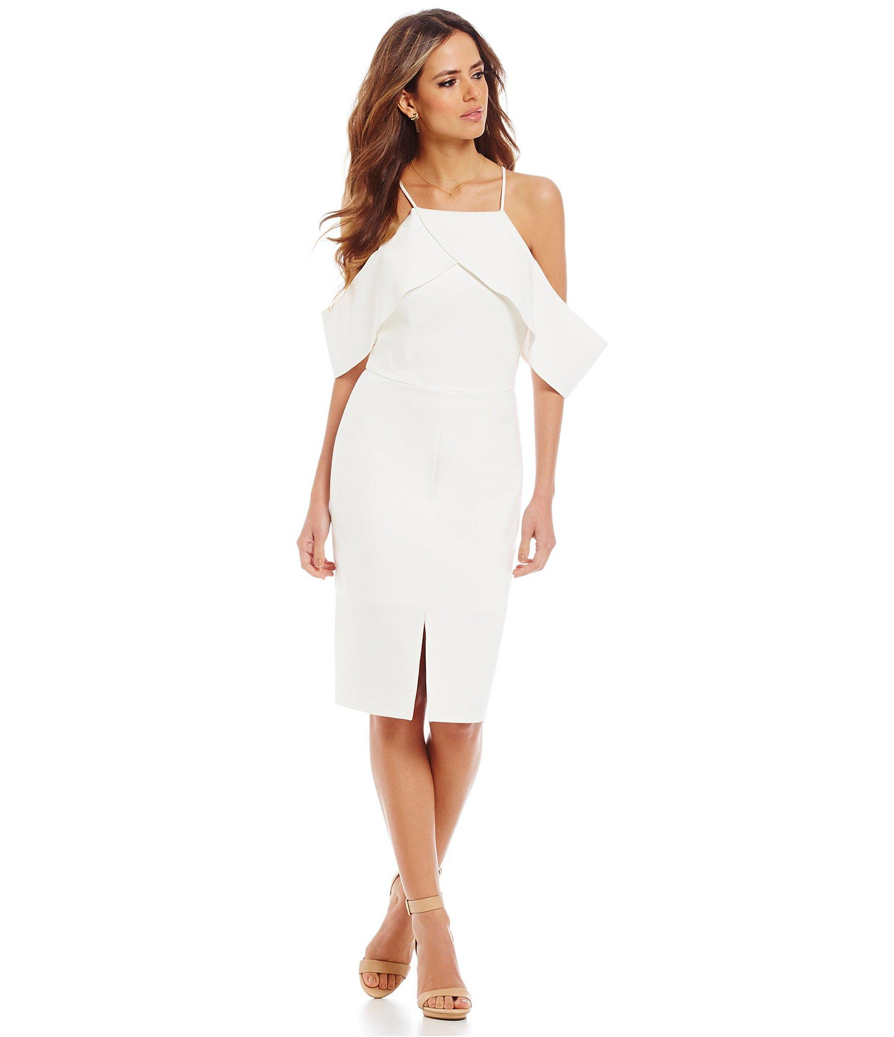 a51026278a2 Gianni Bini Pilar Ruffled Halter Neck Cold-shoulder Sheath Dress in ...