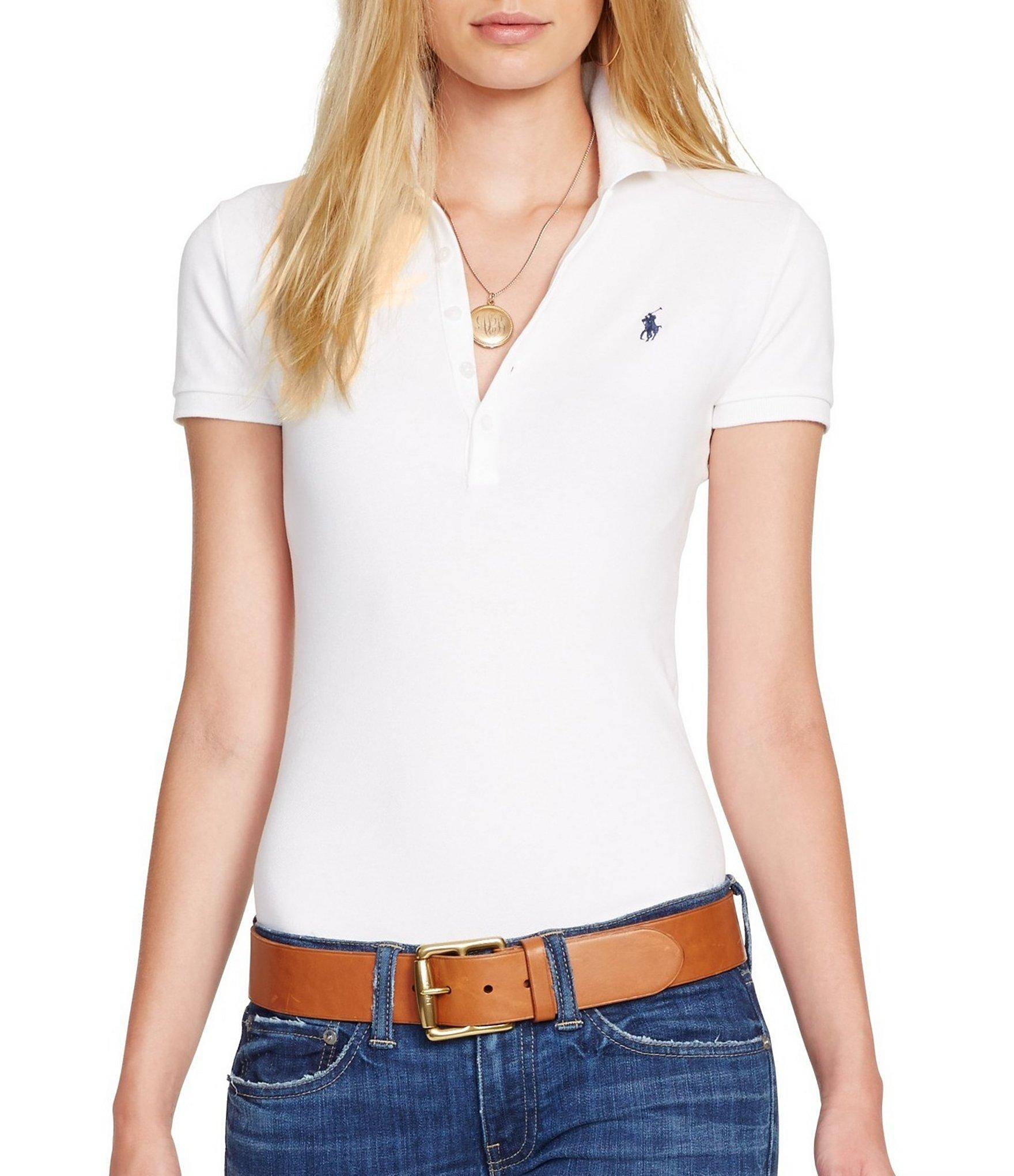 Polo ralph lauren julie skinny fit stretch polo shirt in for Woman s polo shirts
