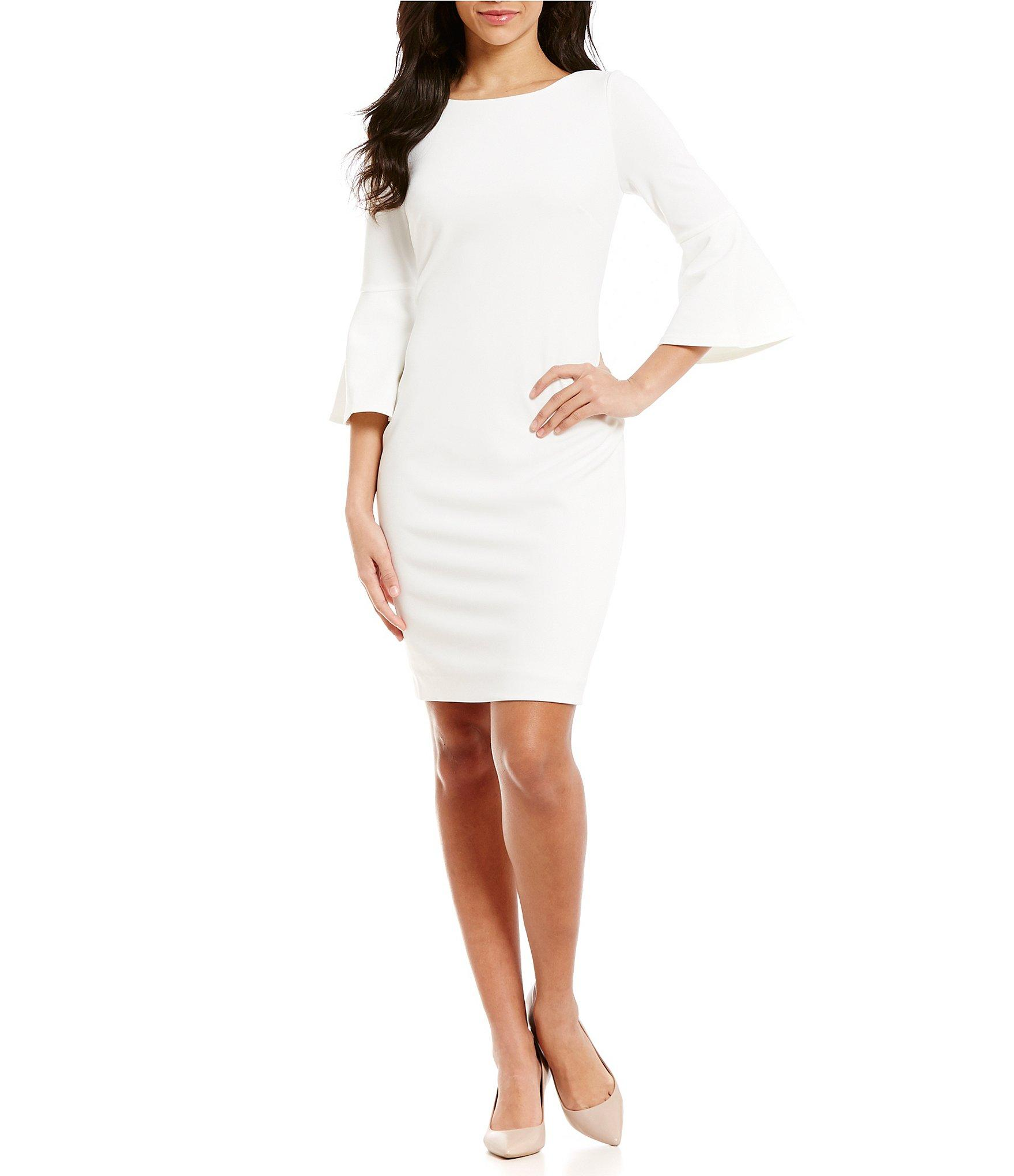 Calvin klein Bell-sleeve Sheath Dress in White | Lyst